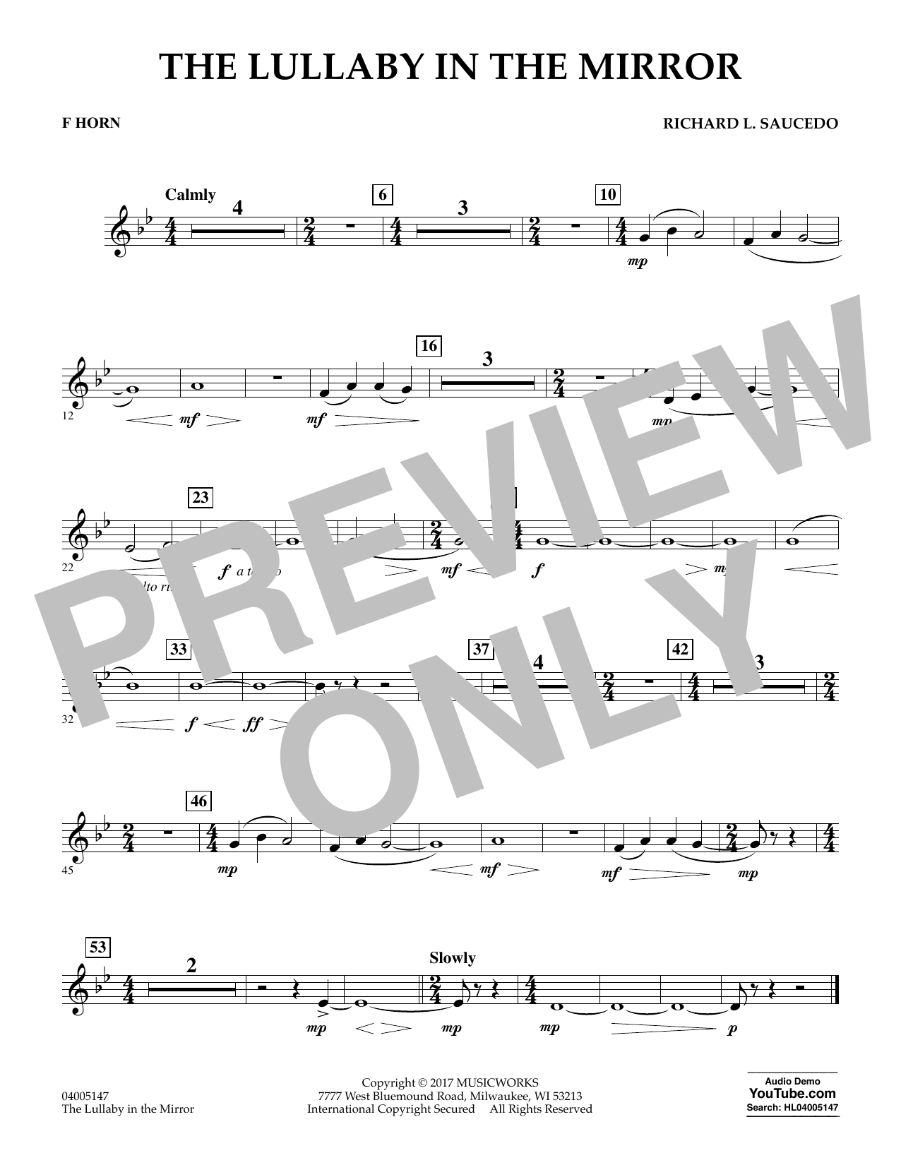The Lullaby in the Mirror - F Horn Sheet Music