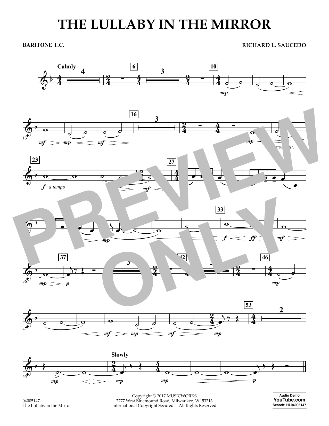 The Lullaby in the Mirror - Baritone T.C. Sheet Music