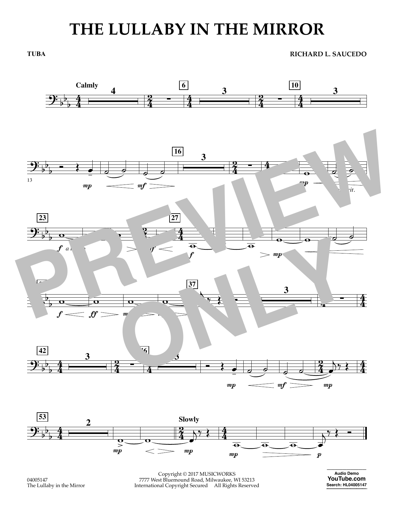 The Lullaby in the Mirror - Tuba Sheet Music