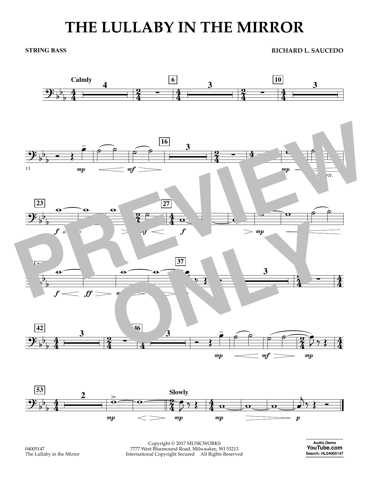 The Lullaby in the Mirror - String Bass (Concert Band)