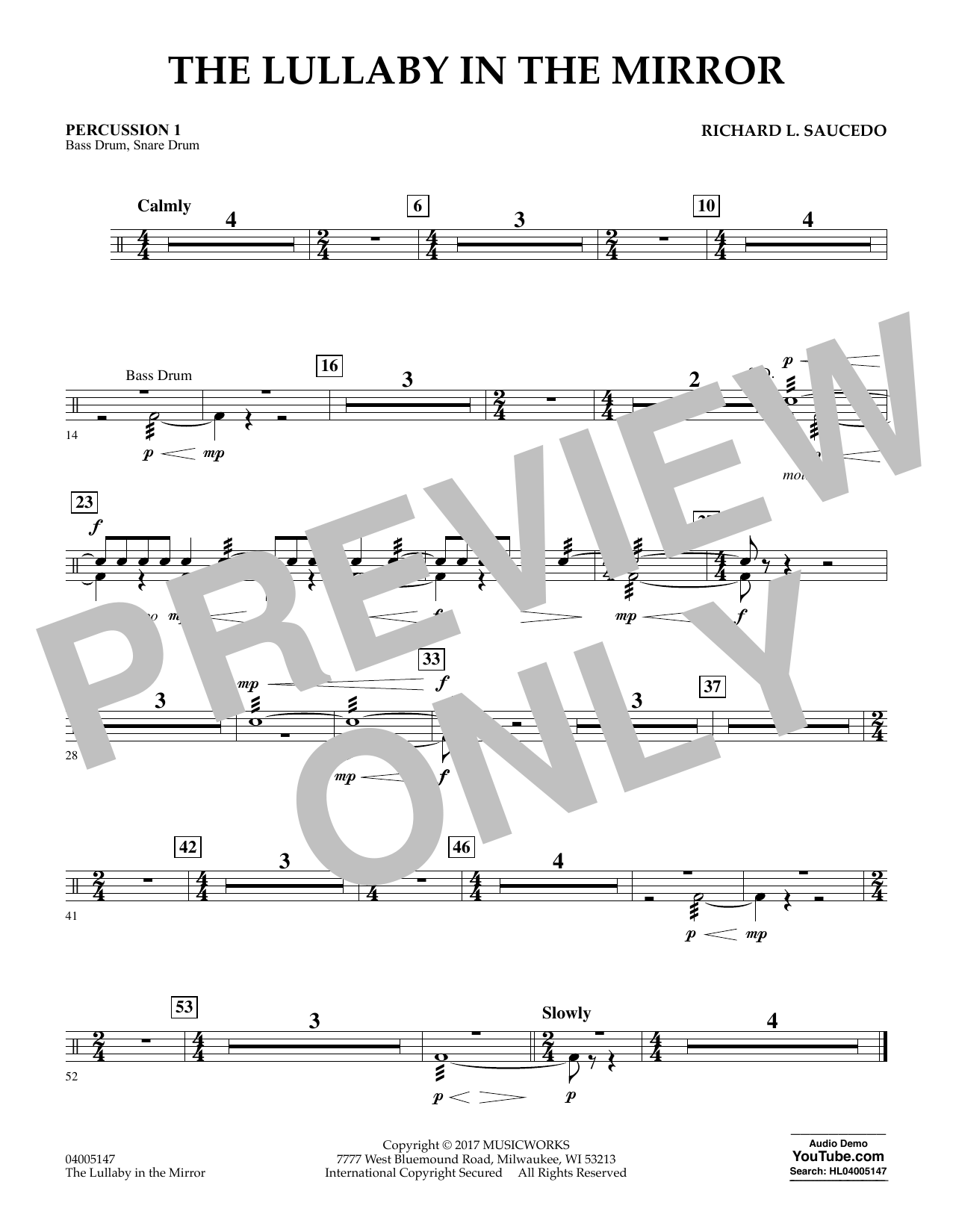 The Lullaby in the Mirror - Percussion 1 Digitale Noten