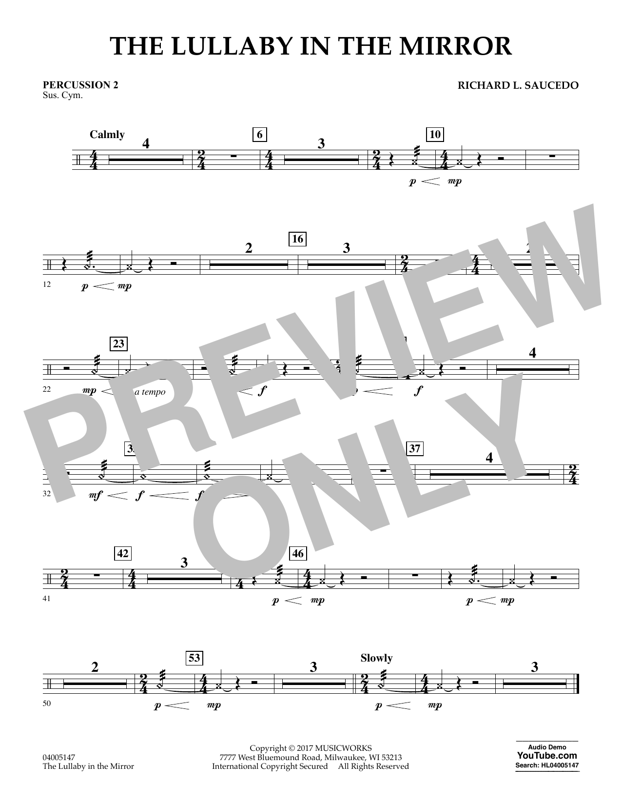The Lullaby in the Mirror - Percussion 2 Sheet Music