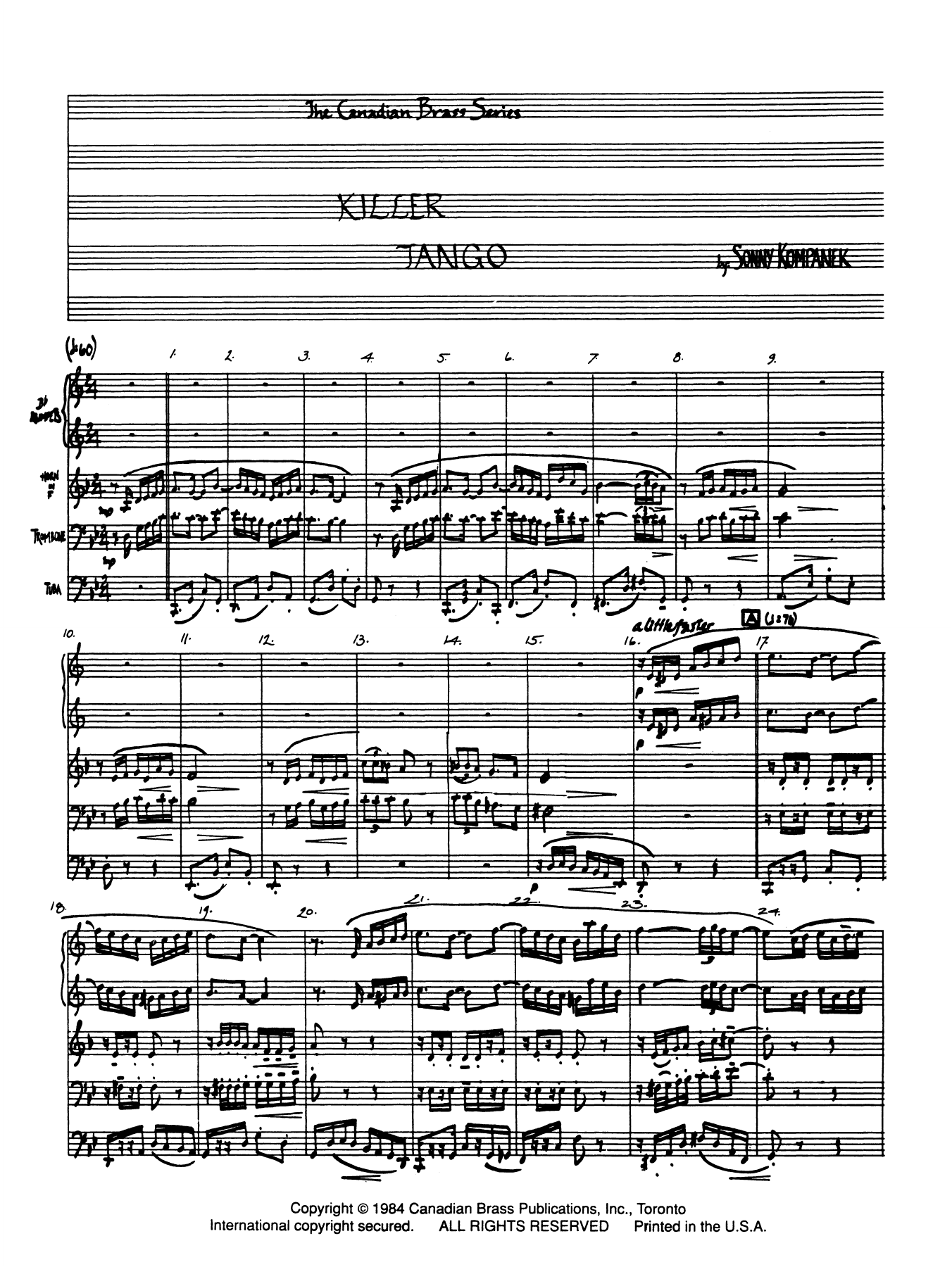 Killer Tango - Full Score Sheet Music