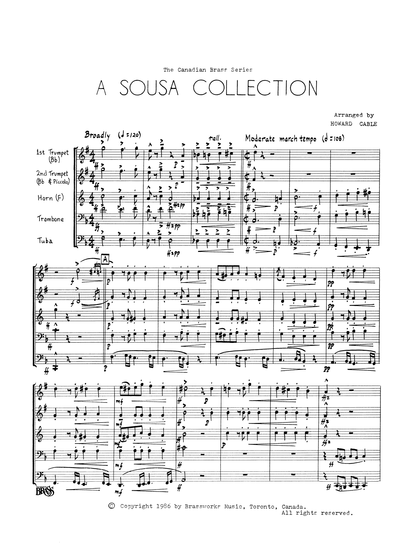 A Sousa Collection (COMPLETE) sheet music for brass quintet by John Philip Sousa. Score Image Preview.