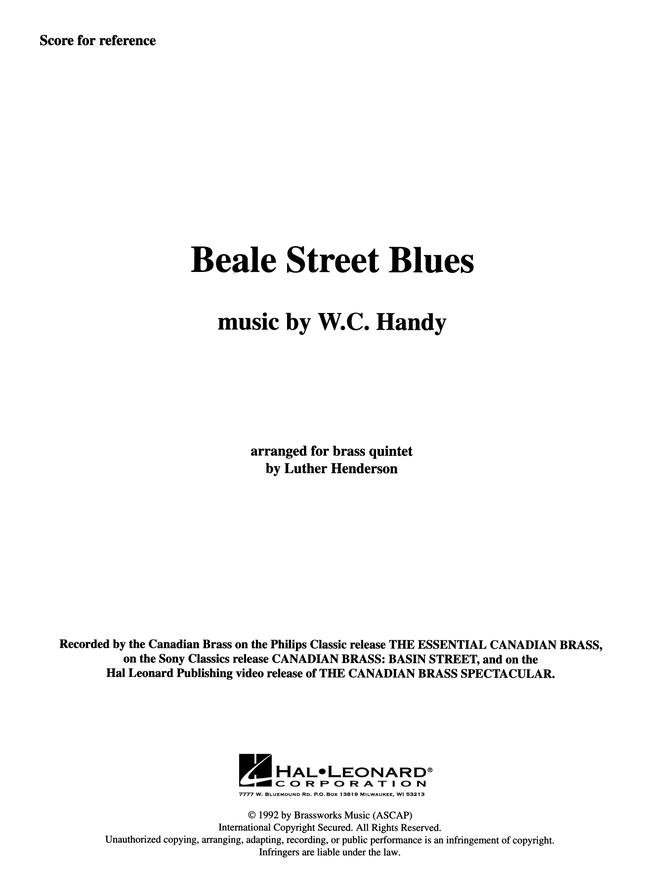Beale Street Blues - Full Score Sheet Music
