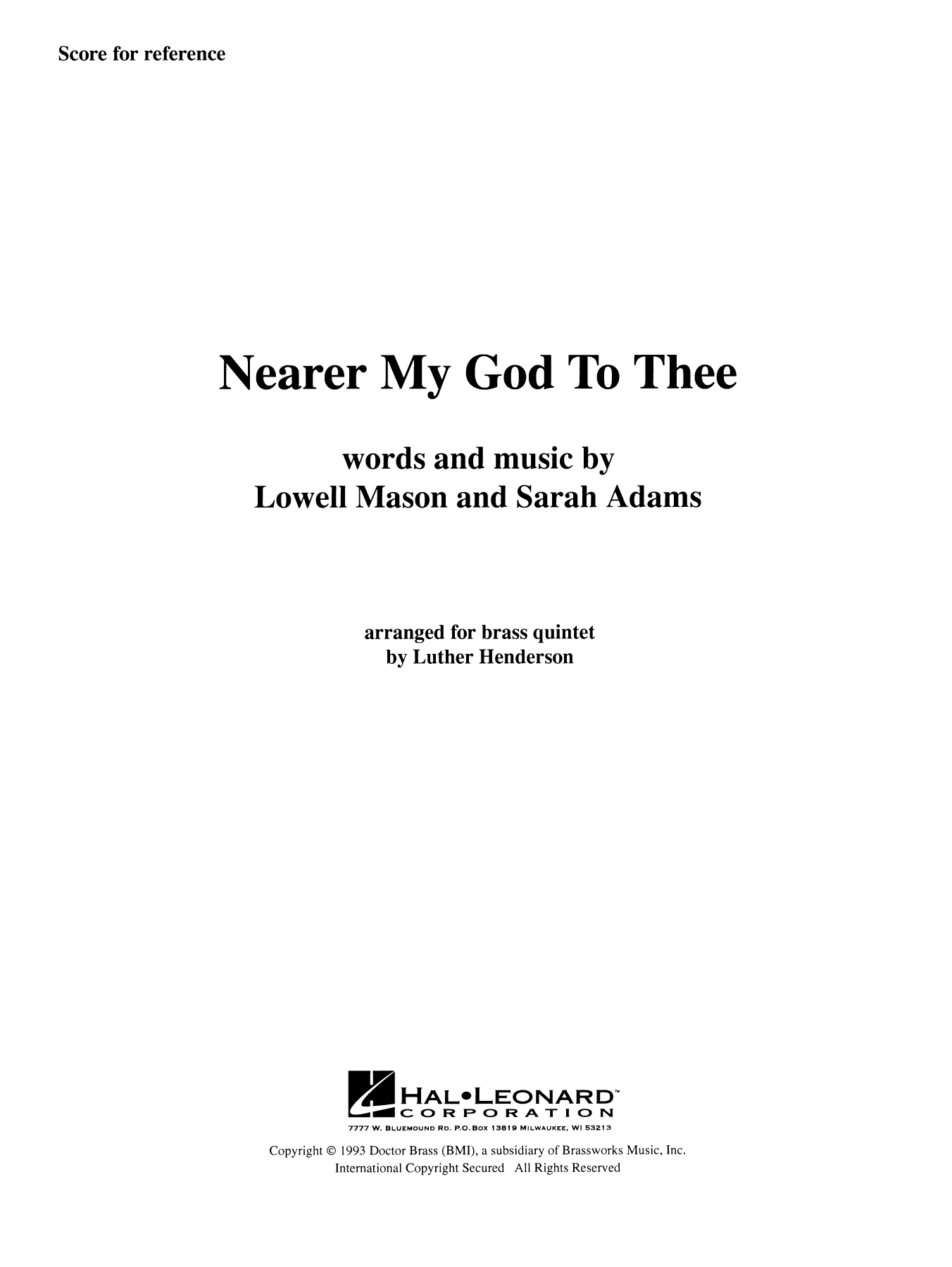 Nearer My God to Thee (COMPLETE) sheet music for brass quintet by Luther Henderson. Score Image Preview.