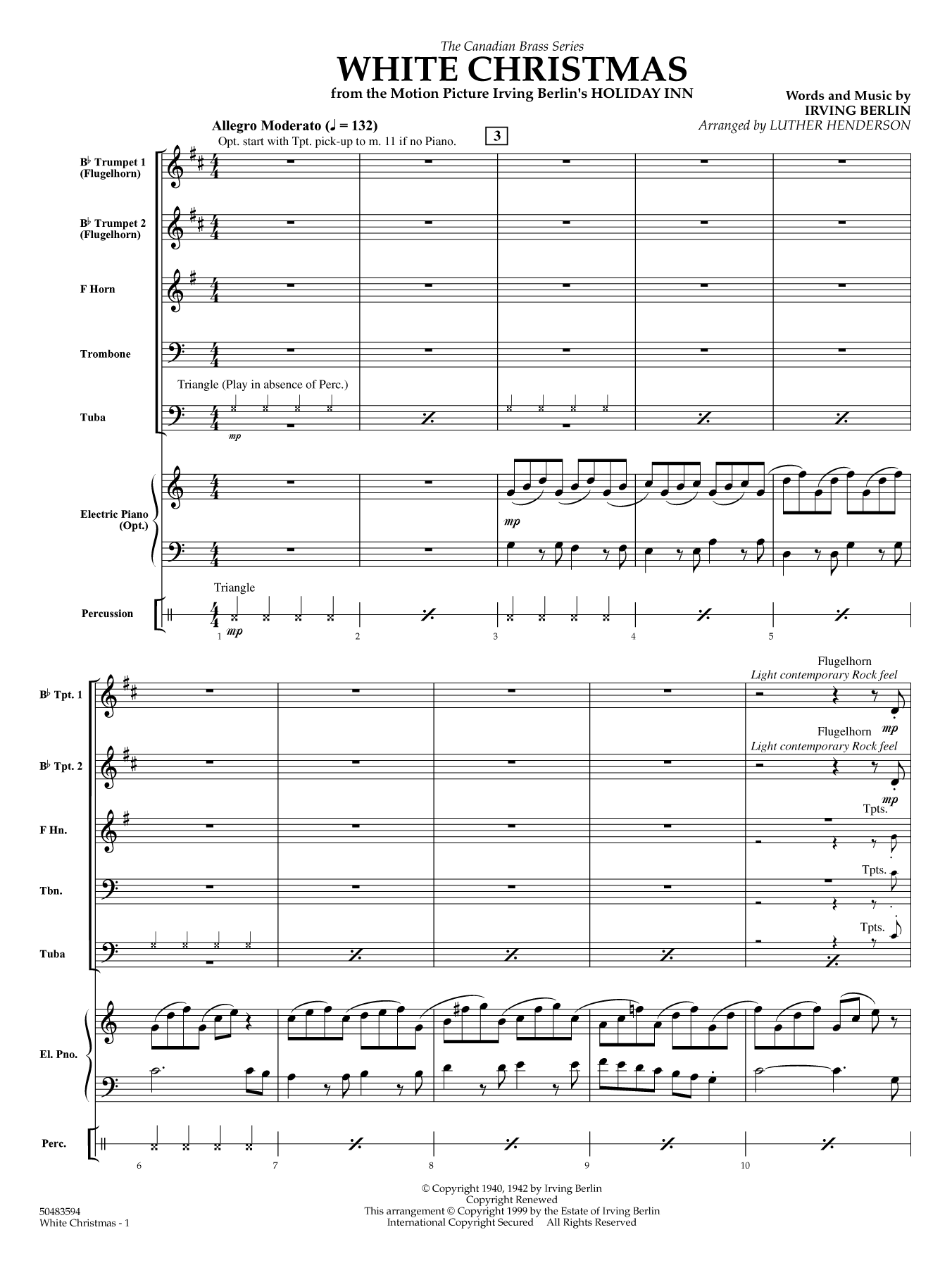White Christmas (COMPLETE) sheet music for brass ensemble by Irving Berlin and Luther Henderson. Score Image Preview.