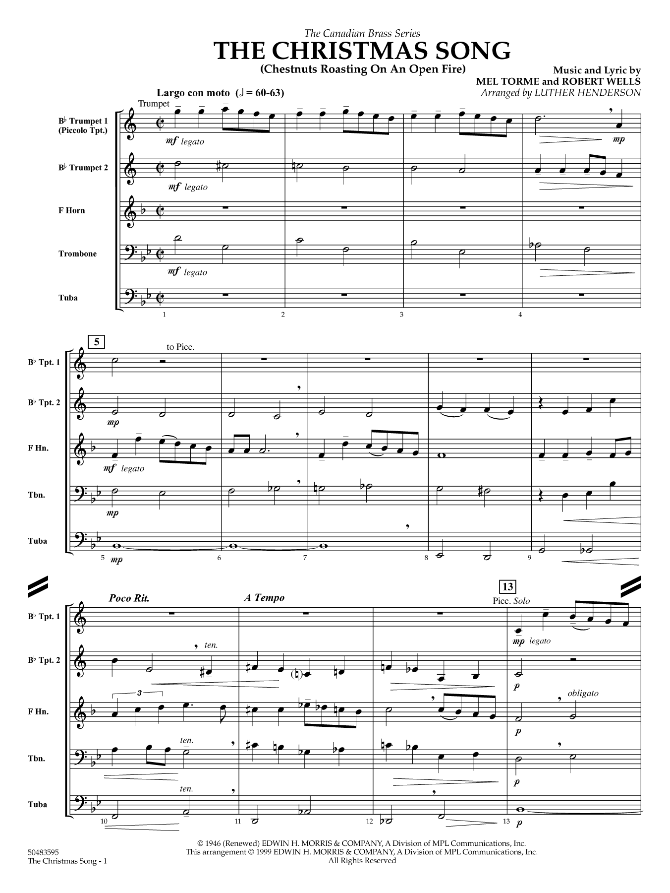 The Christmas Song (Chestnuts Roasting) - Full Score Sheet Music