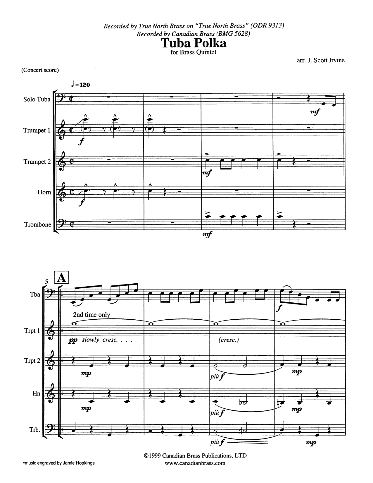 Tuba Polka (COMPLETE) sheet music for brass quintet by J. Scott Irvine. Score Image Preview.