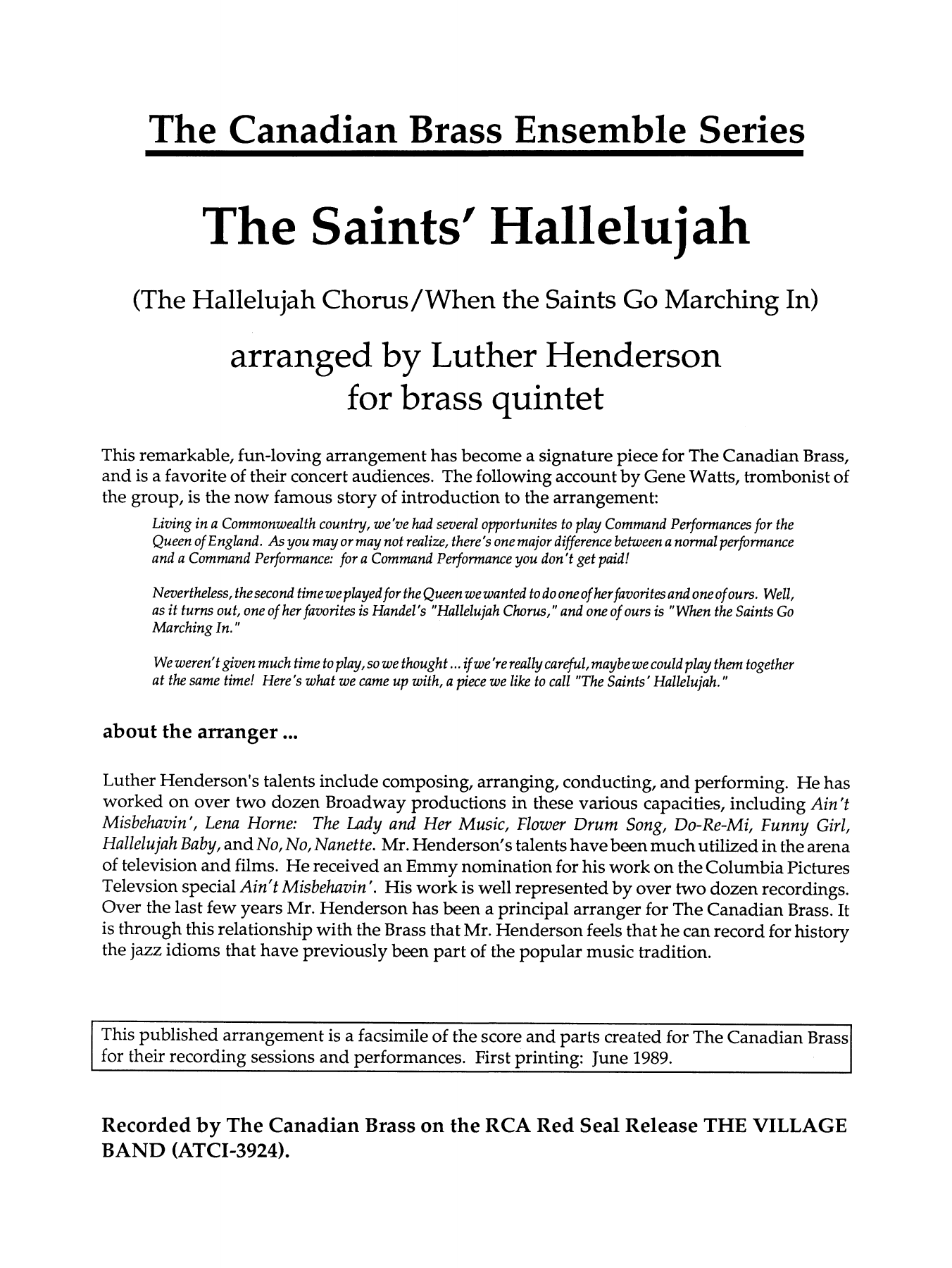 The Saints' Hallelujah (COMPLETE) sheet music for brass quintet by Luther Henderson. Score Image Preview.