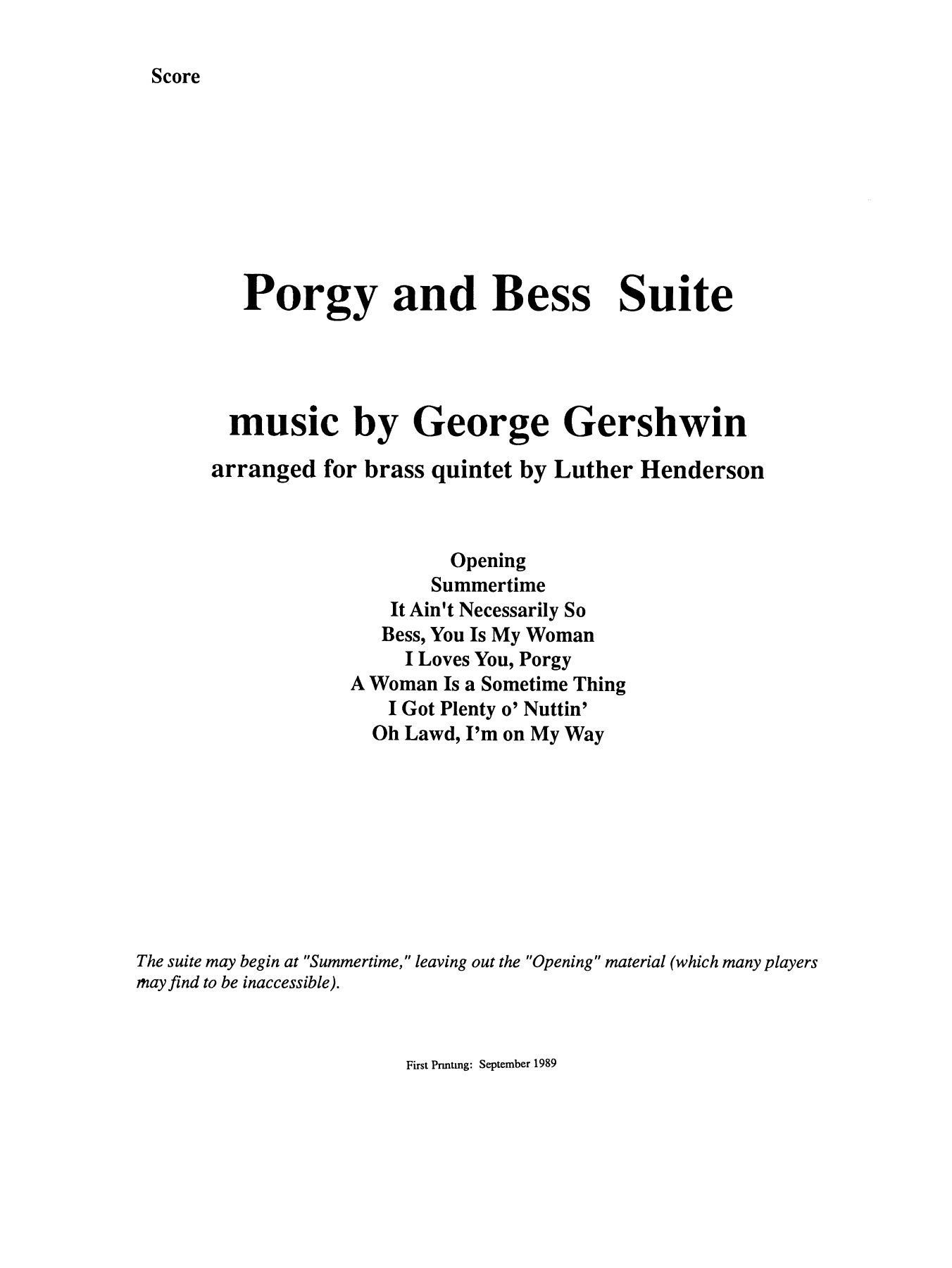 Porgy and Bess Suite - Full Score Sheet Music