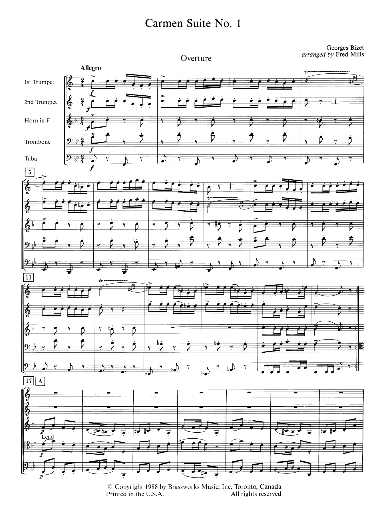 Carmen Suite No. 1 (COMPLETE) sheet music for brass quintet by George Bizet. Score Image Preview.
