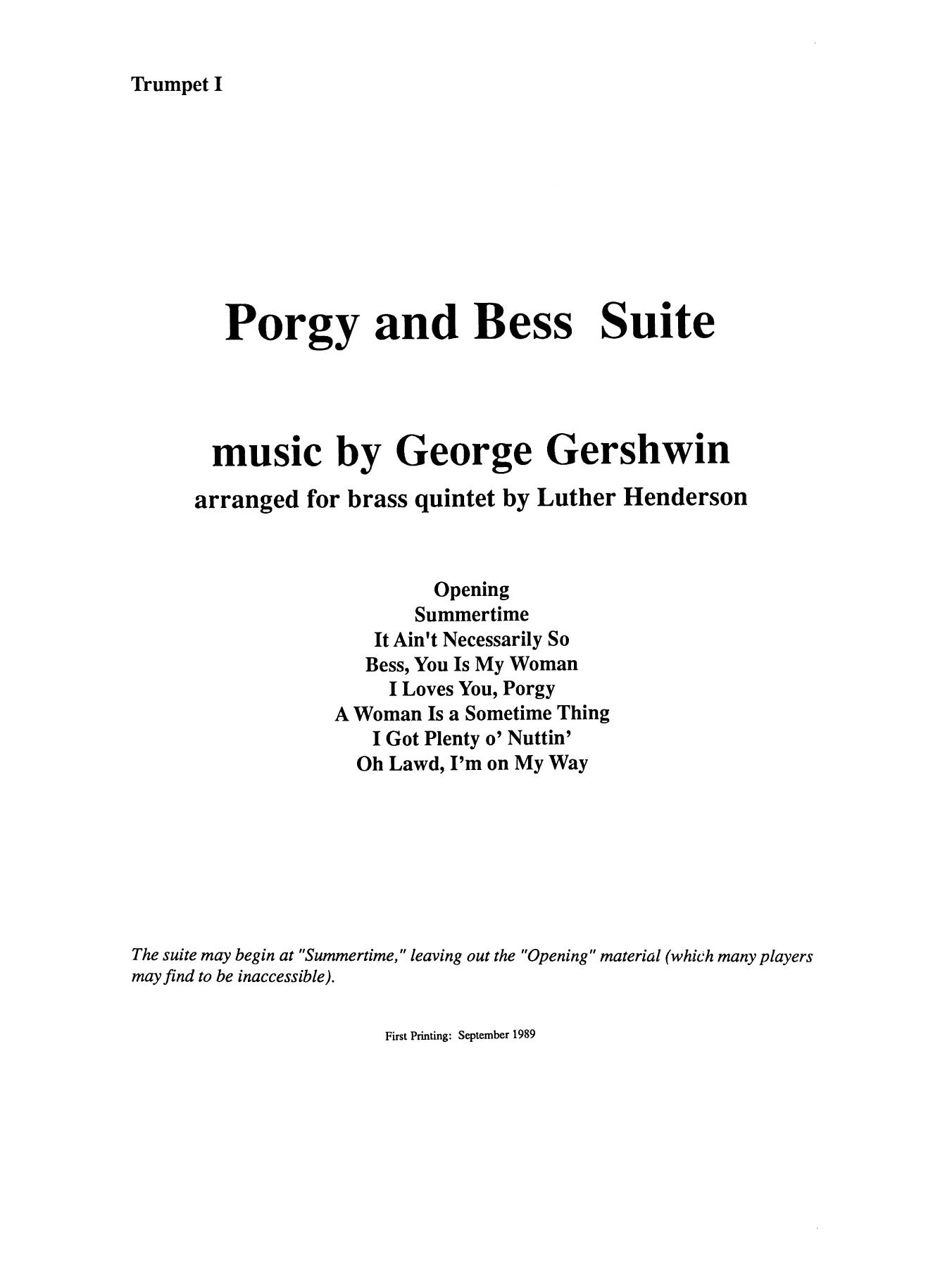 Porgy and Bess Suite - Bb Trumpet 1 (Brass Quintet) Sheet Music