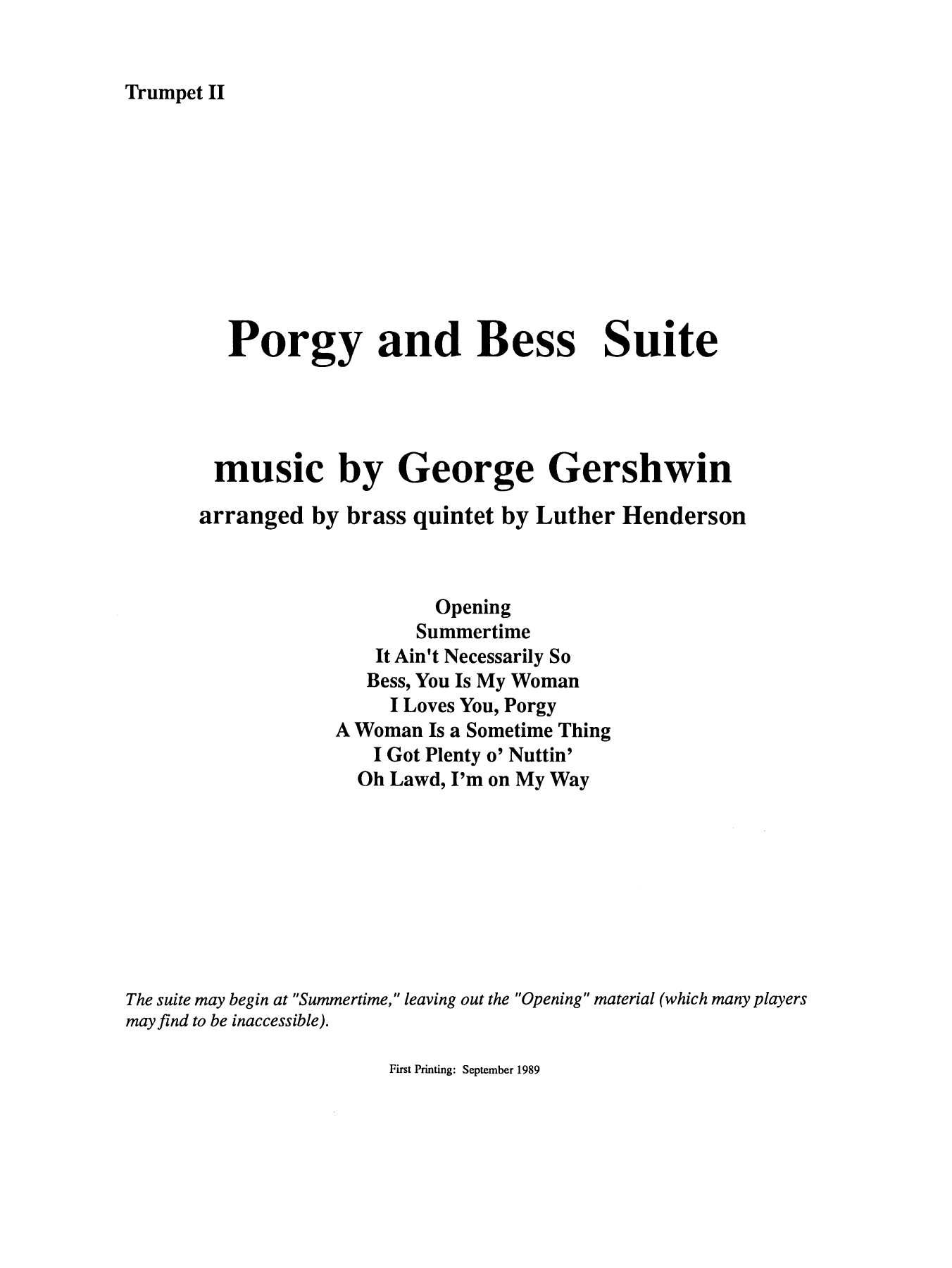 Porgy and Bess Suite - Bb Trumpet 2 (Brass Quintet) Sheet Music