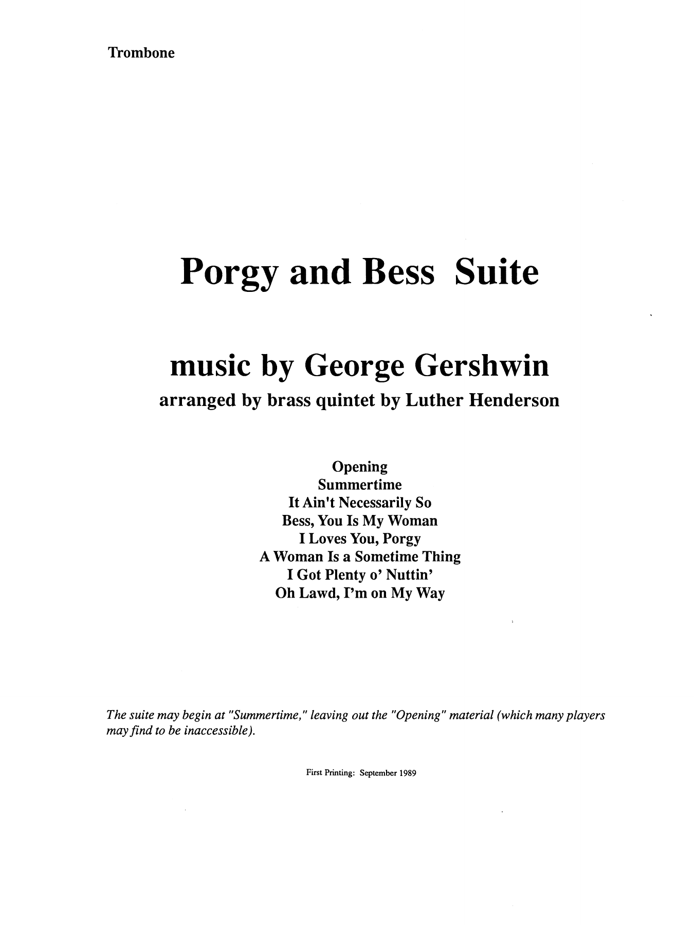 Porgy and Bess Suite - Trombone (B.C.) Sheet Music
