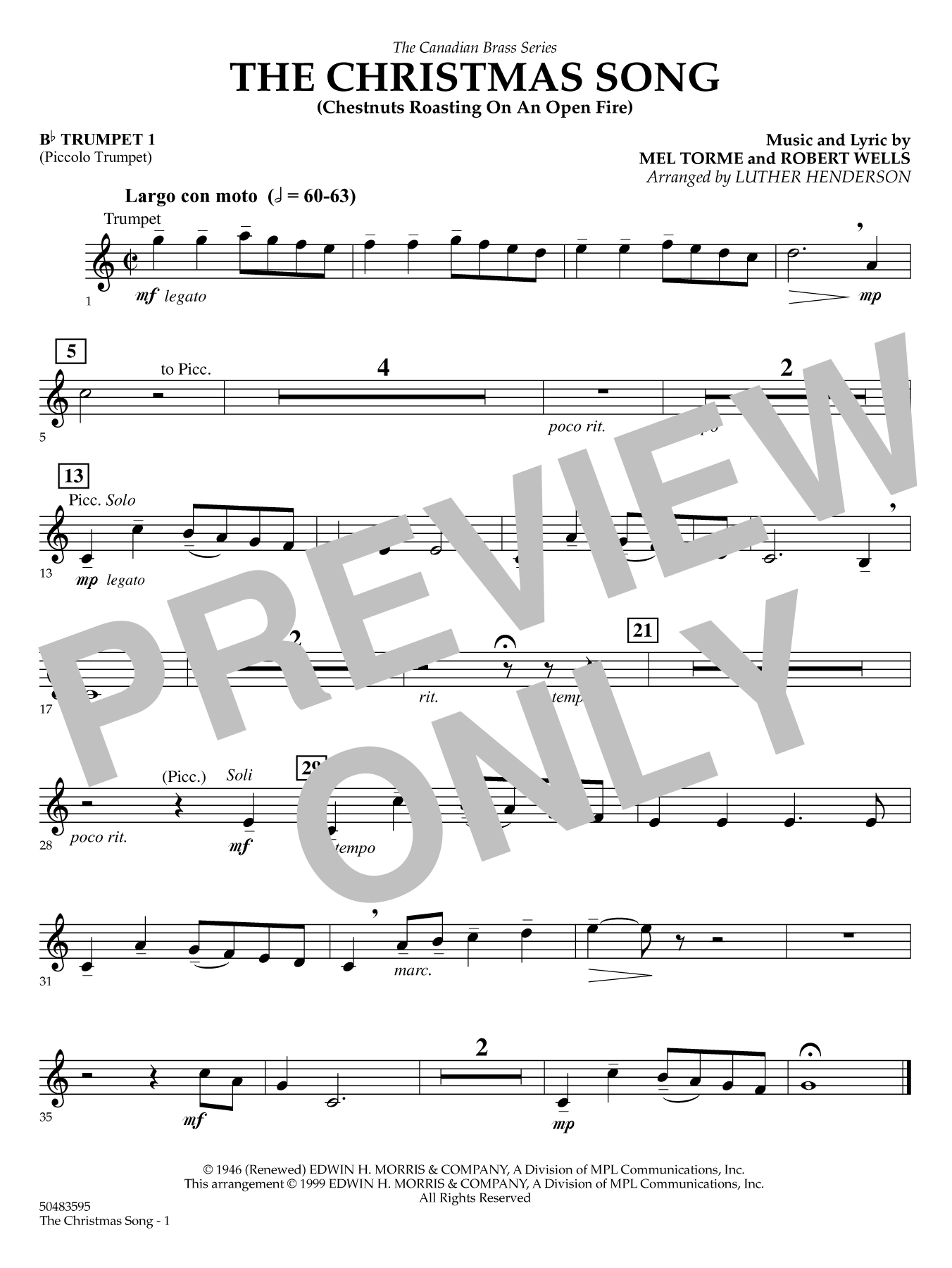 The Christmas Song (Chestnuts Roasting) - Bb Trumpet 1 (Brass Quintet) Sheet Music