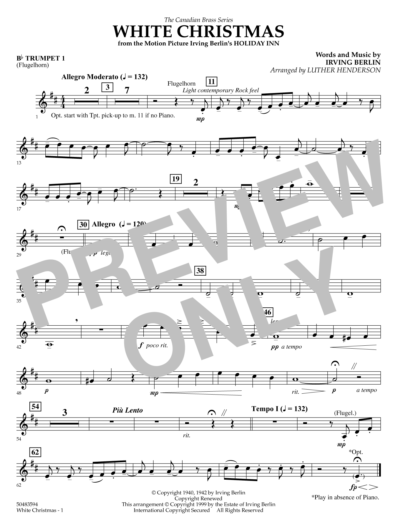 White Christmas - Trumpet 1 (opt. Flugelhorn) Sheet Music