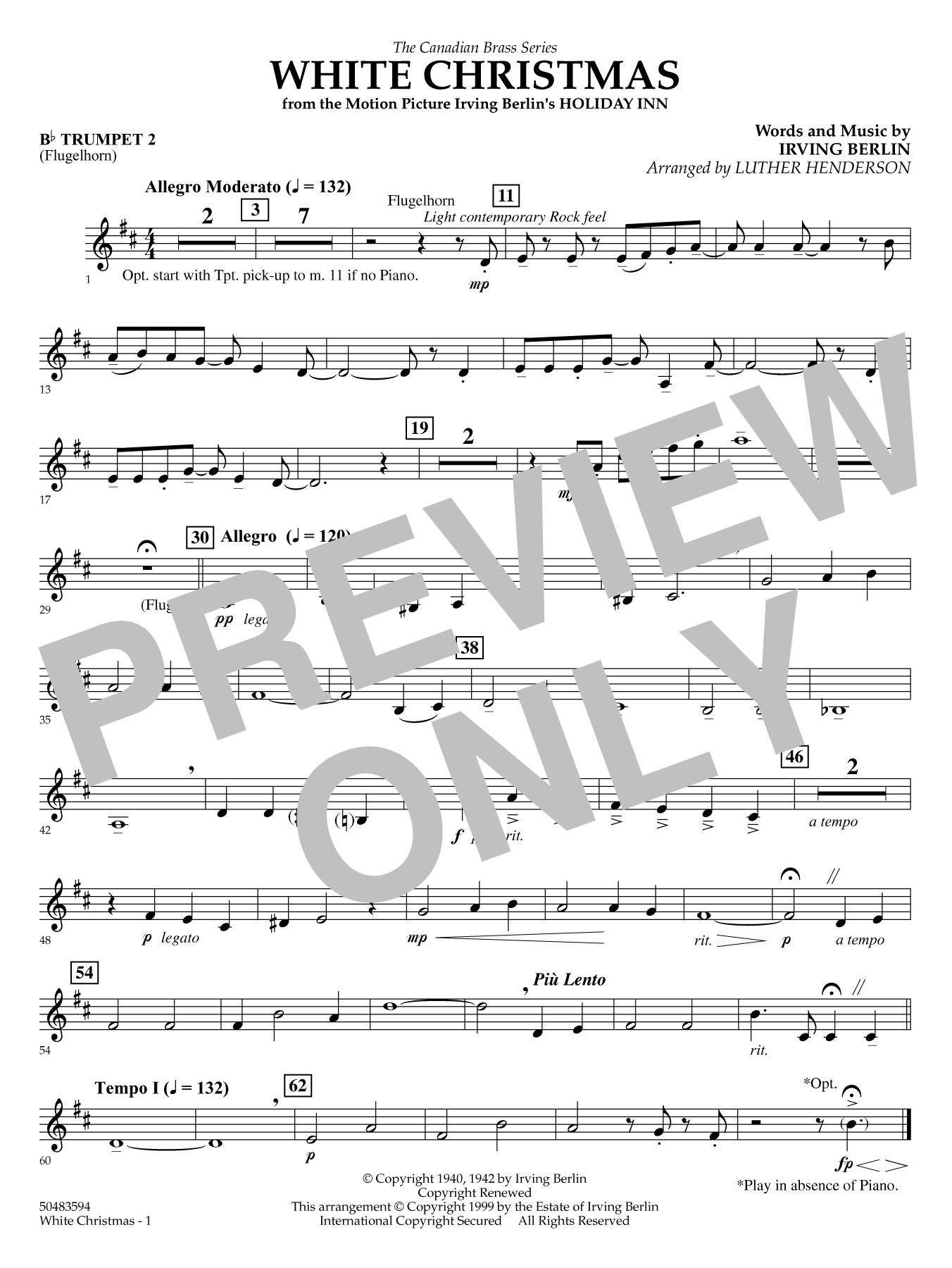 White Christmas - Trumpet 2 (opt. Flugelhorn) Sheet Music