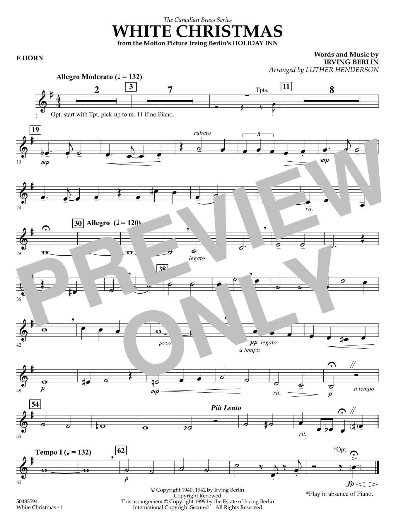 White Christmas - Horn in F Sheet Music