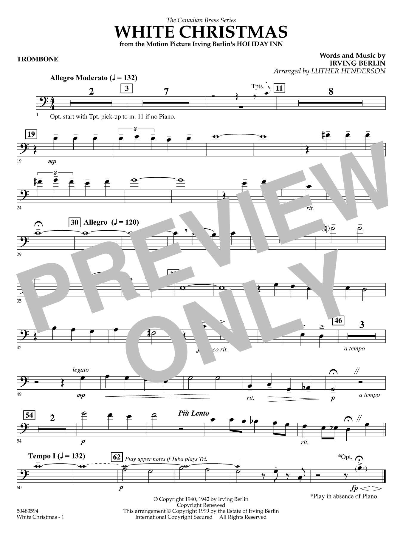 White Christmas - Trombone (B.C.) Sheet Music