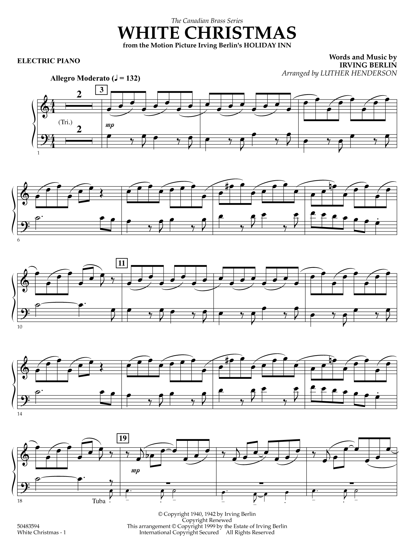 White Christmas - Electronic Keyboard Sheet Music