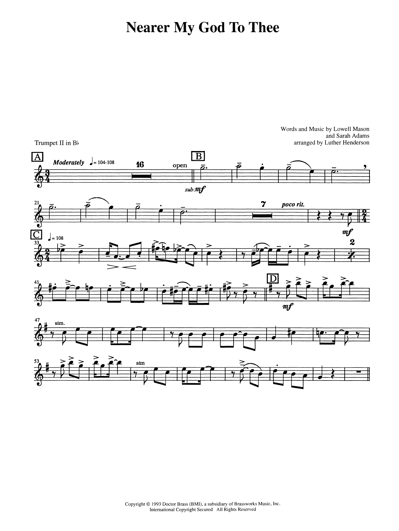 Nearer My God to Thee - Bb Trumpet 2 (Brass Quintet) Sheet Music