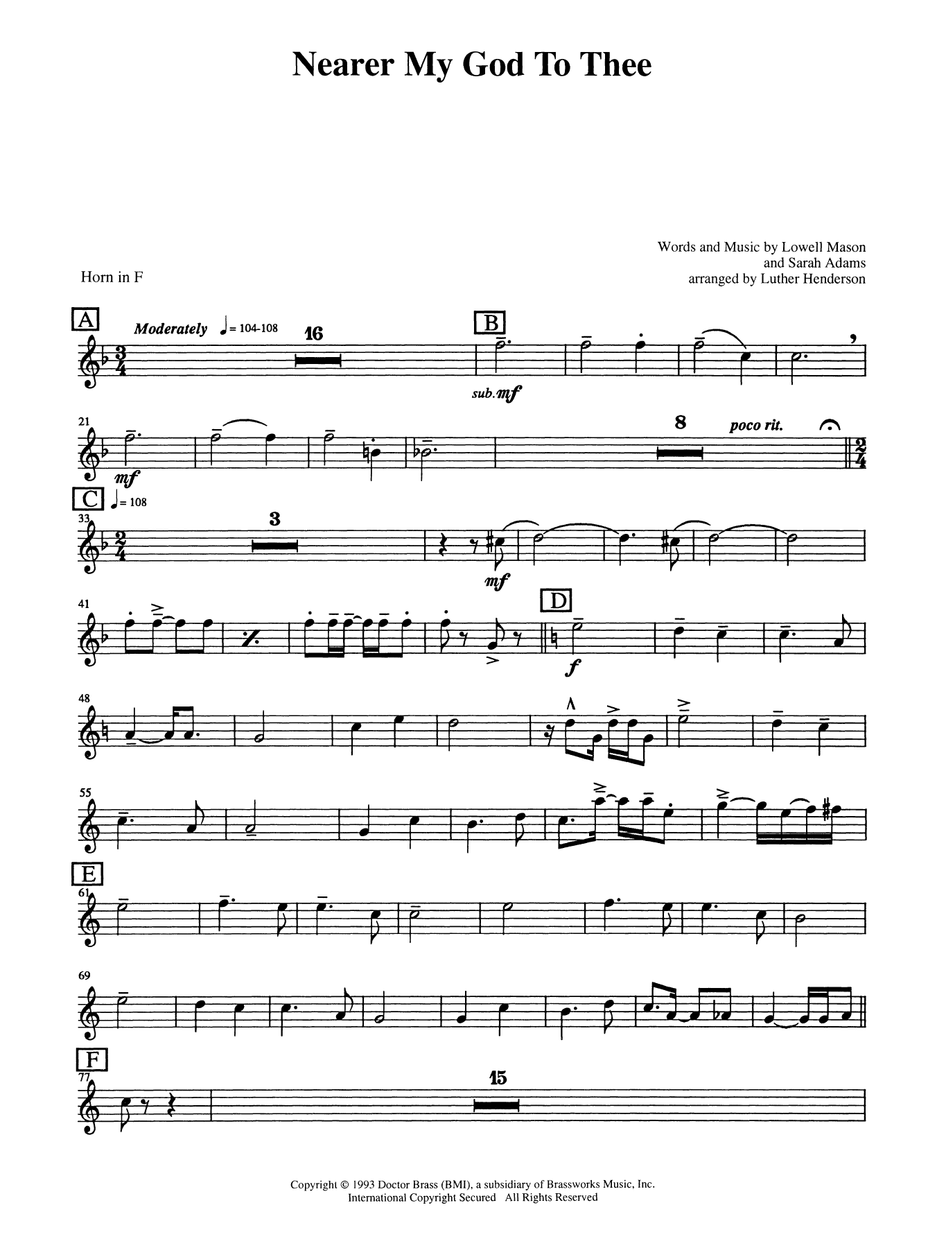 Nearer My God to Thee - Horn in F Sheet Music