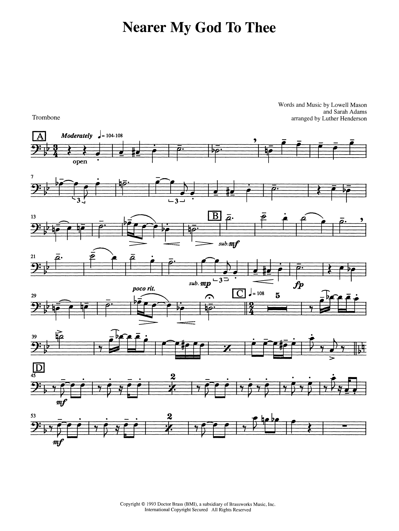 Nearer My God to Thee - Trombone (B.C.) Sheet Music