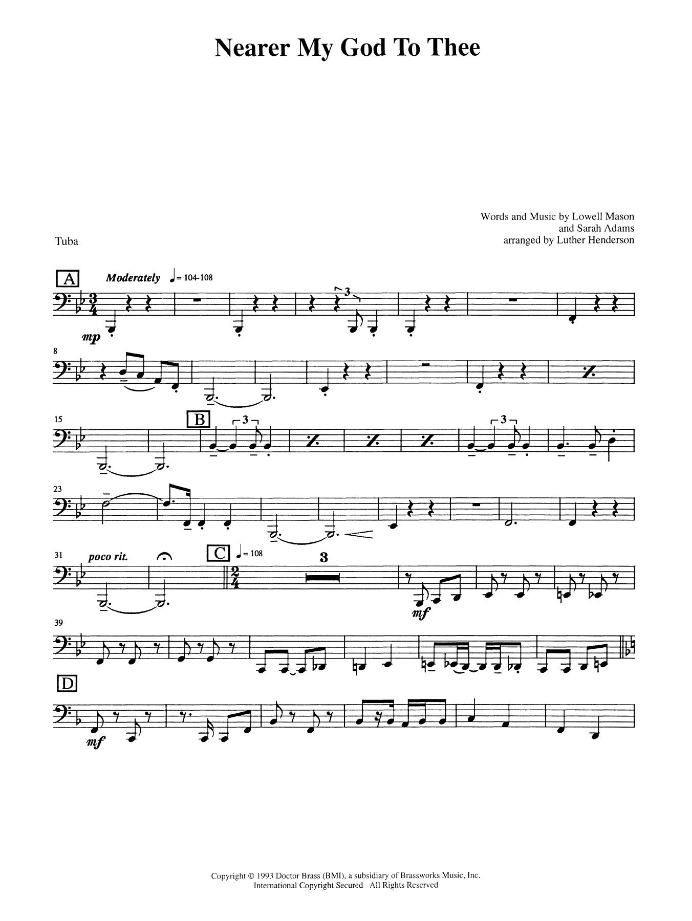 Nearer My God to Thee - Tuba Sheet Music