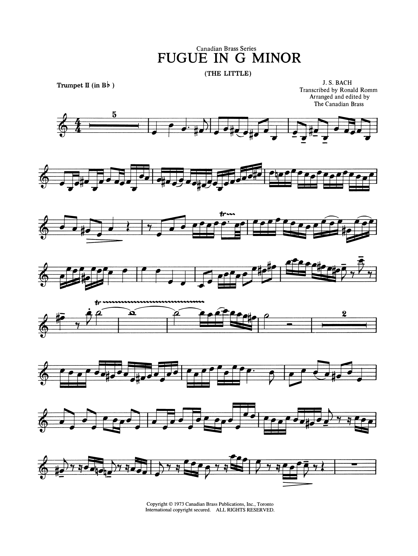 Fugue in G minor - Bb Trumpet 2 (Brass Quintet) Sheet Music
