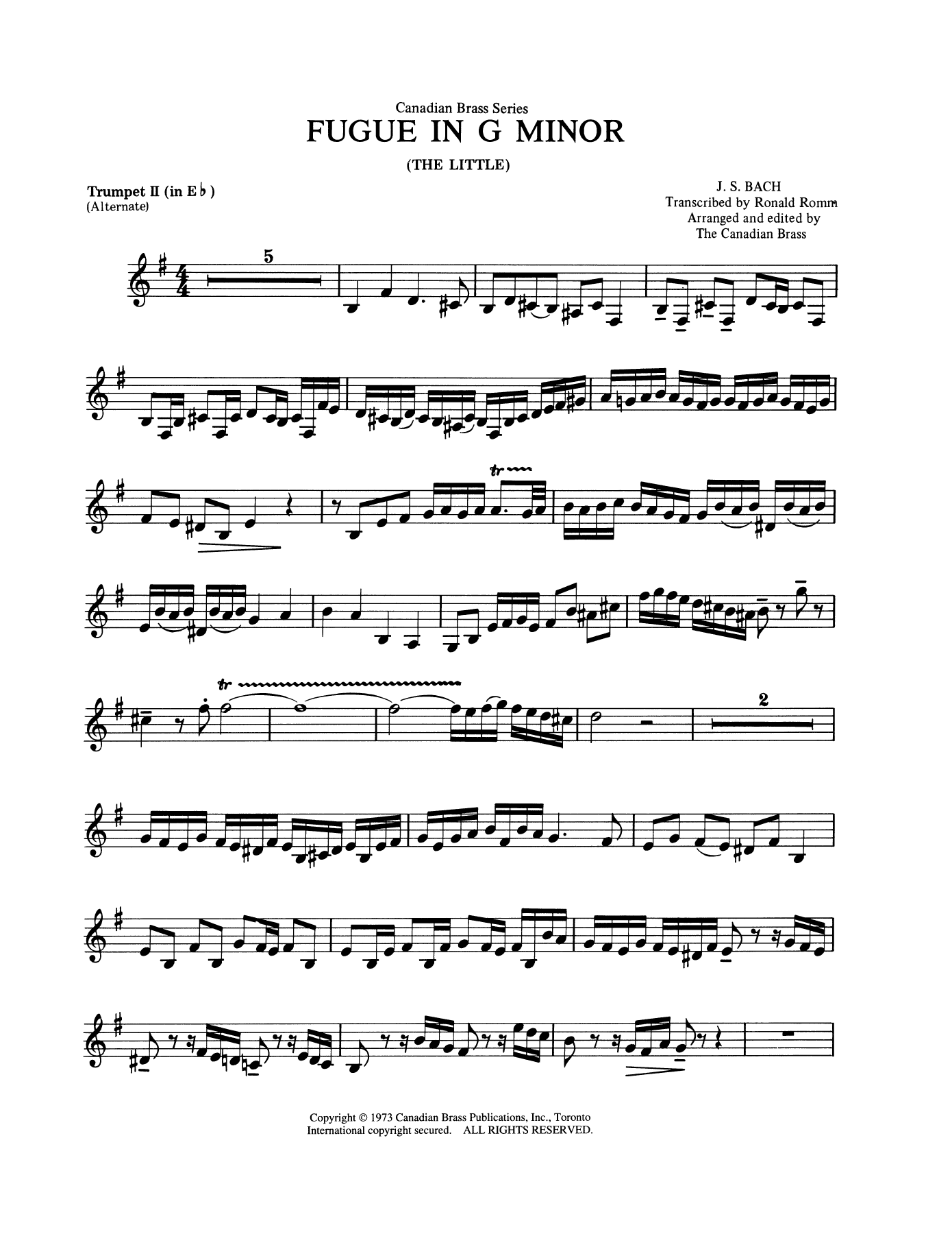 Fugue in G minor - Eb Trumpet Sheet Music