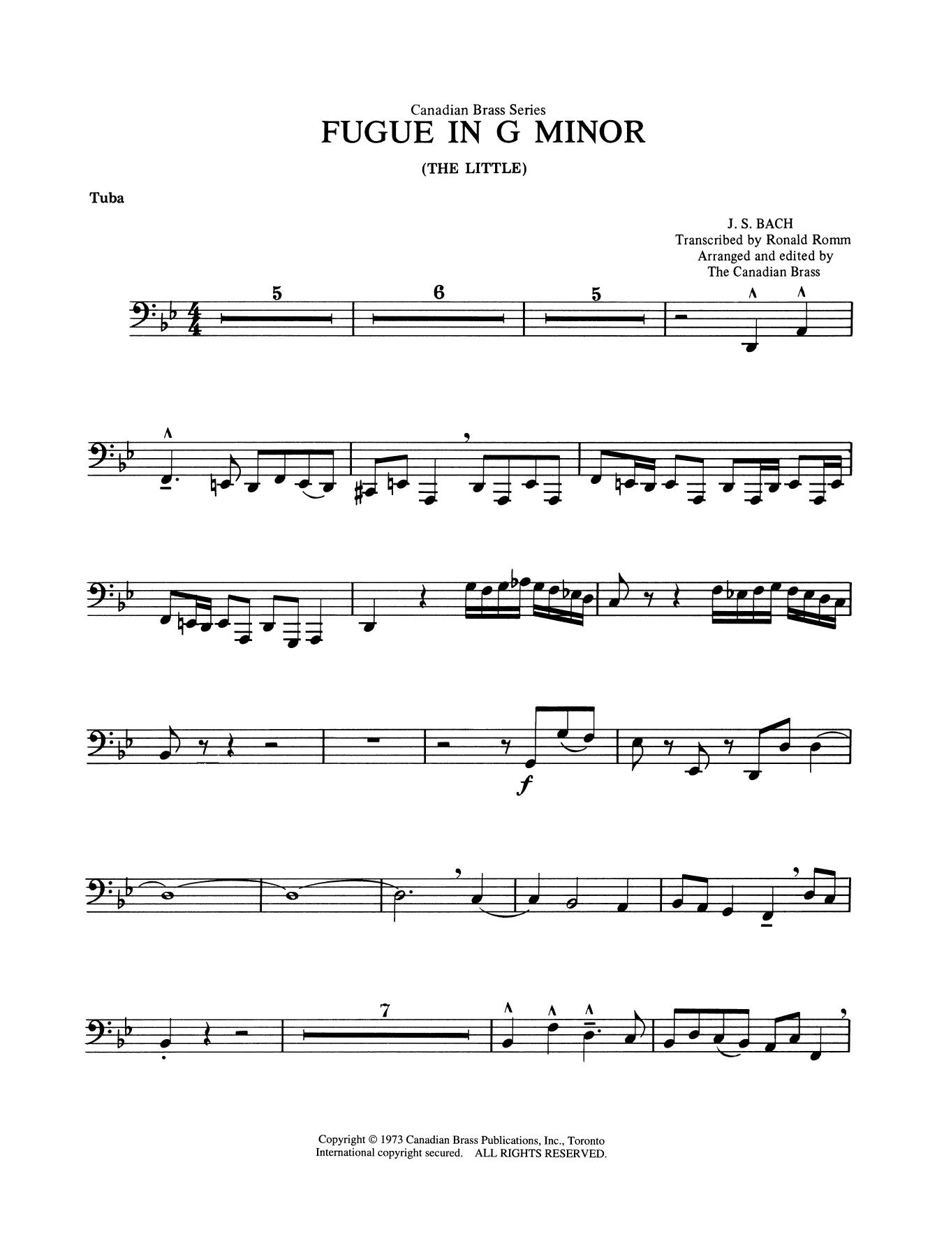 Fugue in G minor - Tuba Sheet Music
