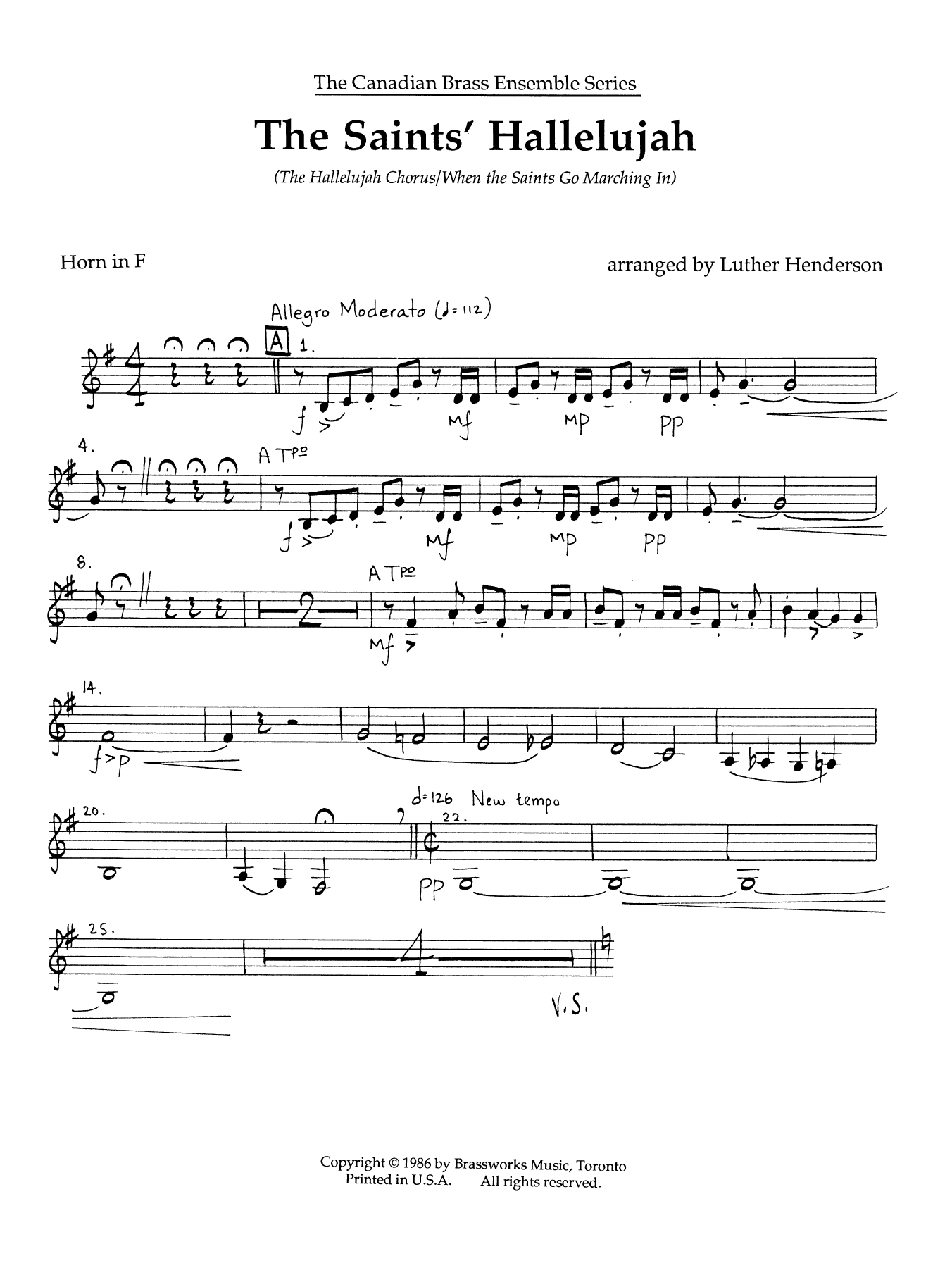The Saints' Hallelujah - Horn in F Sheet Music