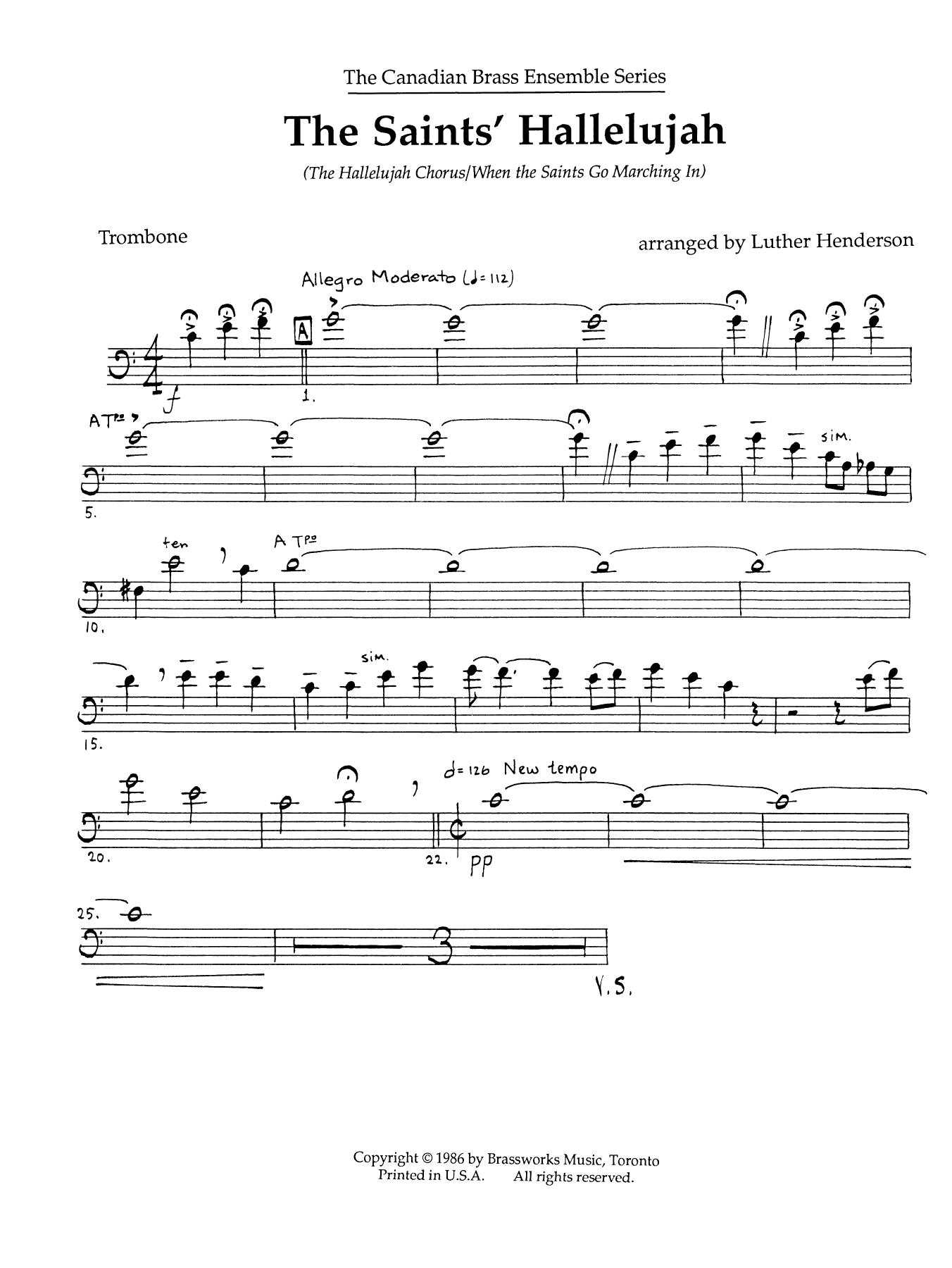 The Saints' Hallelujah - Trombone (B.C.) Sheet Music
