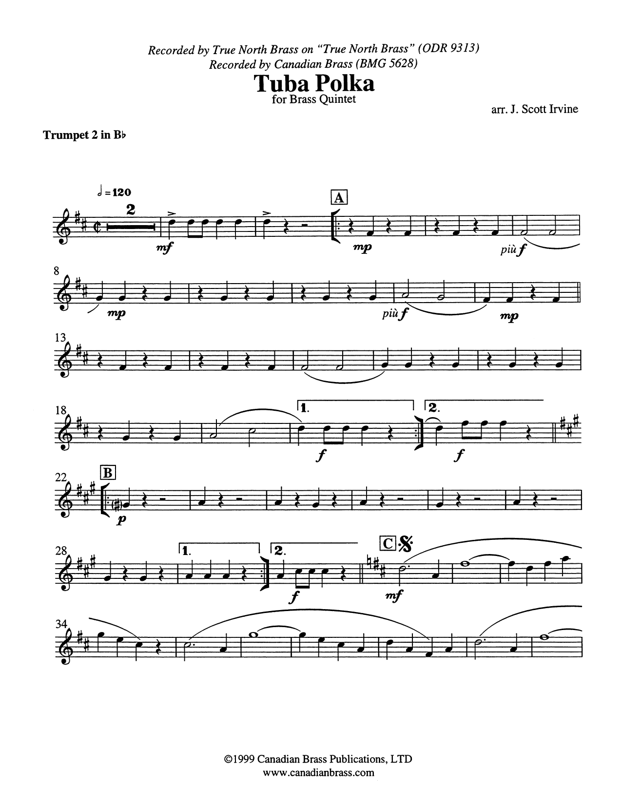 Tuba Polka - Bb Trumpet 2 (Brass Quintet) Partition Digitale