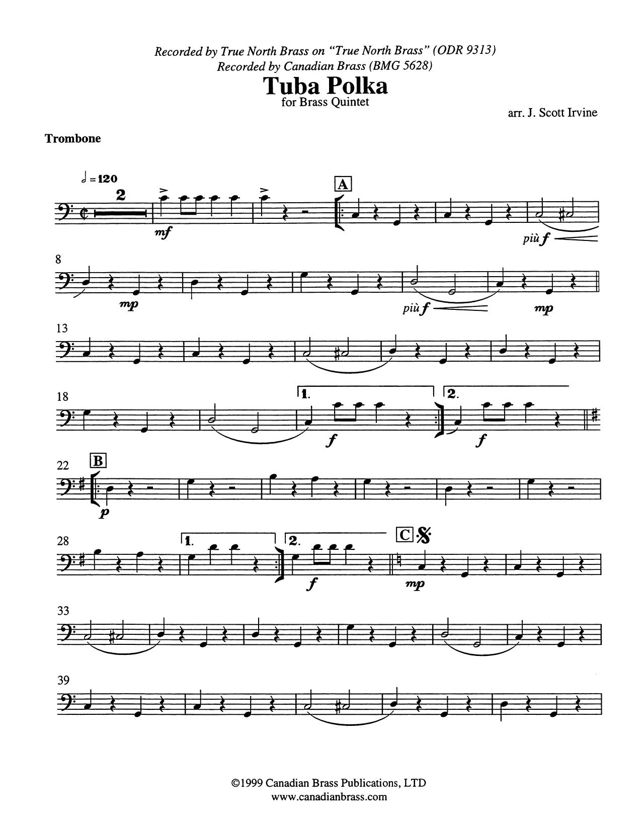 Tuba Polka - Trombone (B.C.) Sheet Music