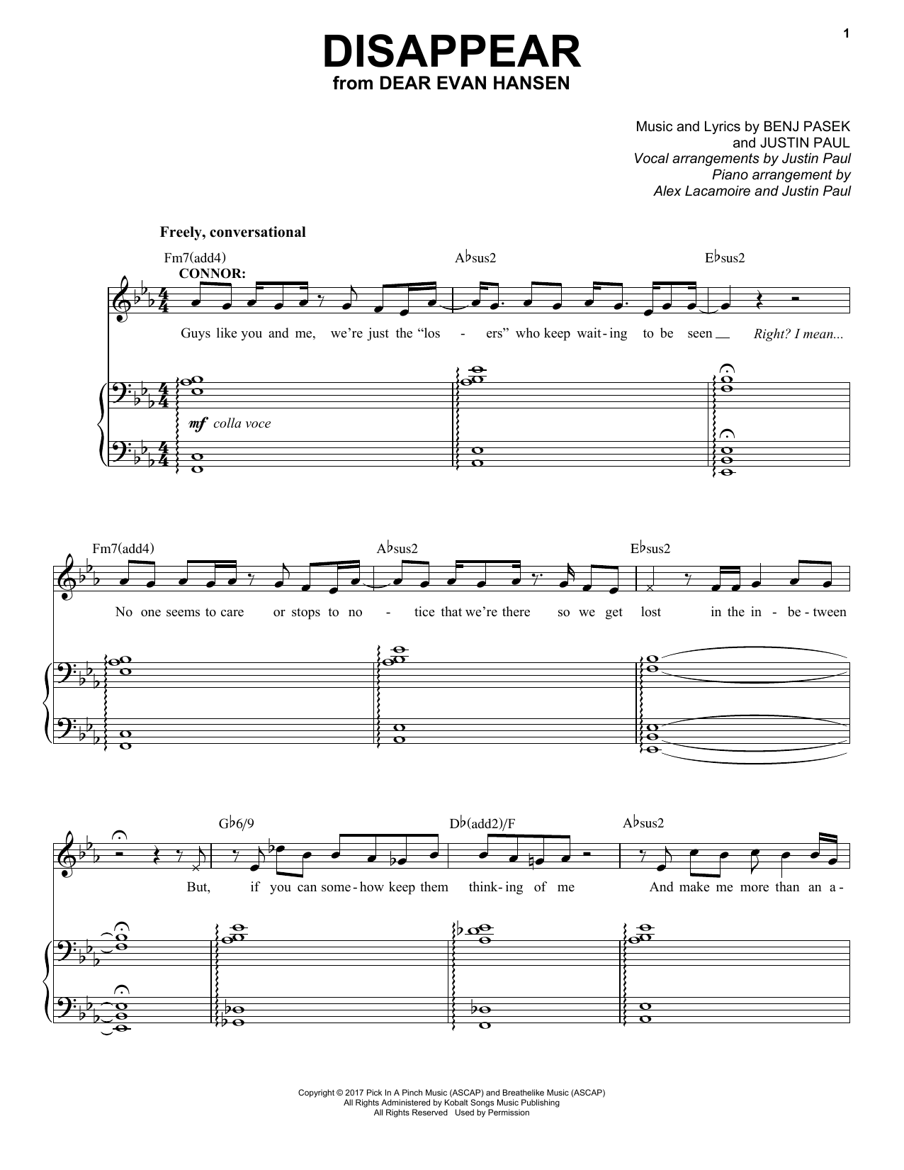 Disappear (from Dear Evan Hansen) (Piano & Vocal)
