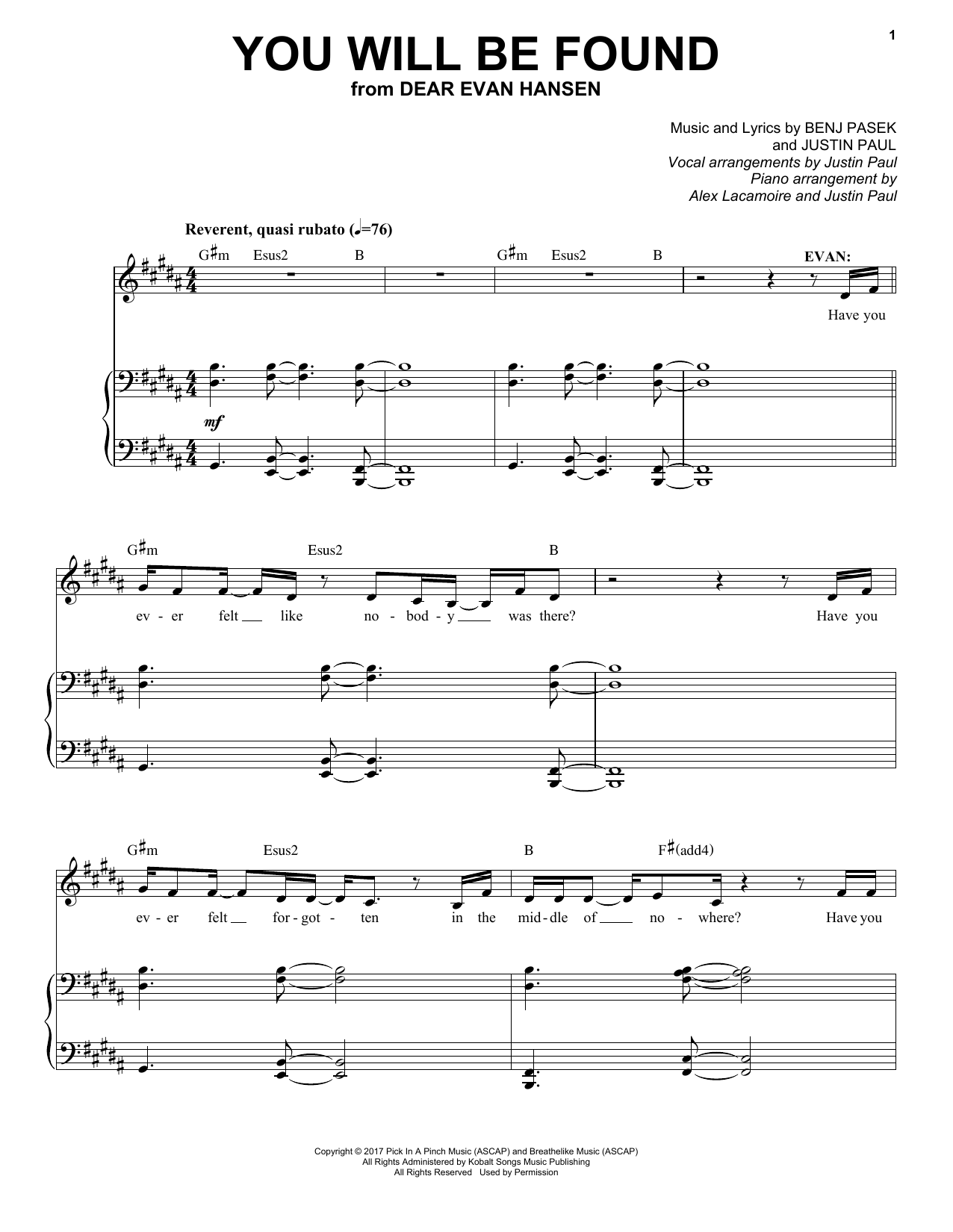 You Will Be Found From Dear Evan Hansen Sheet Music Pasek Paul Piano Vocal Download and print in pdf or midi free sheet music for you will be found (dear evan hansen) arranged by emgray03 for piano, vocals. you will be found from dear evan hansen sheet music pasek paul piano vocal