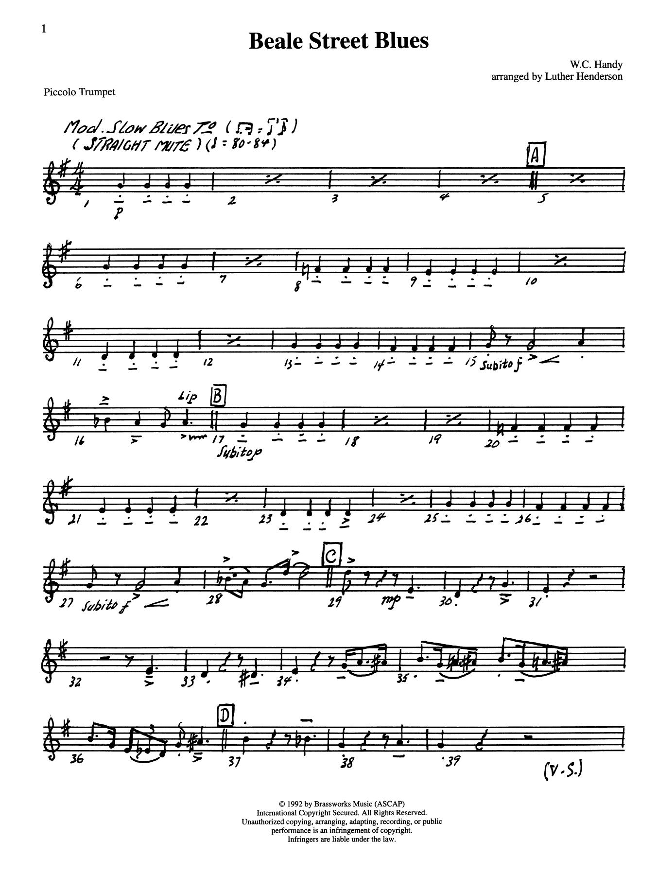 Beale Street Blues - Bb Piccolo Trumpet Sheet Music