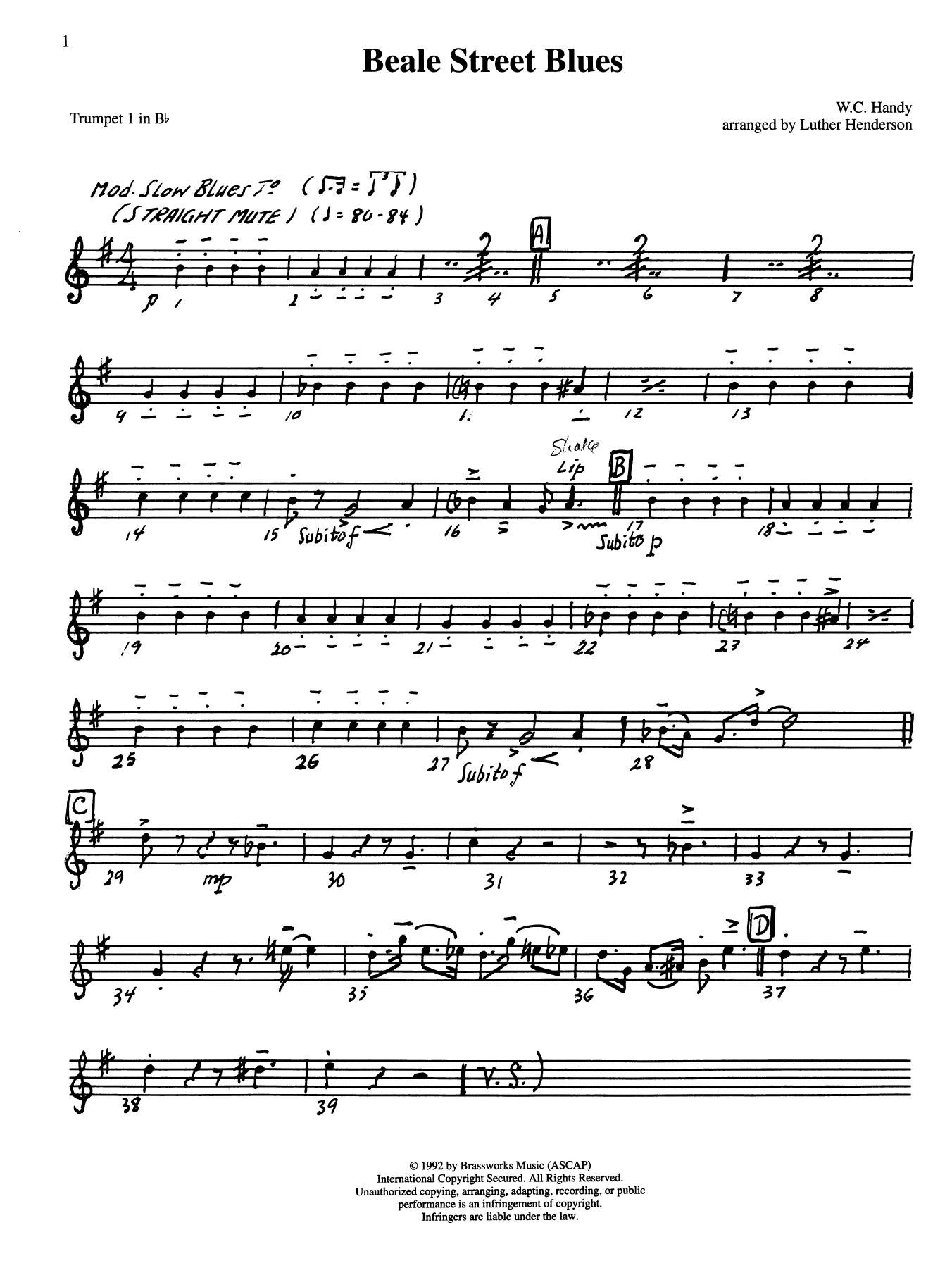 Beale Street Blues - Bb Trumpet 2 (Brass Quintet) Partition Digitale
