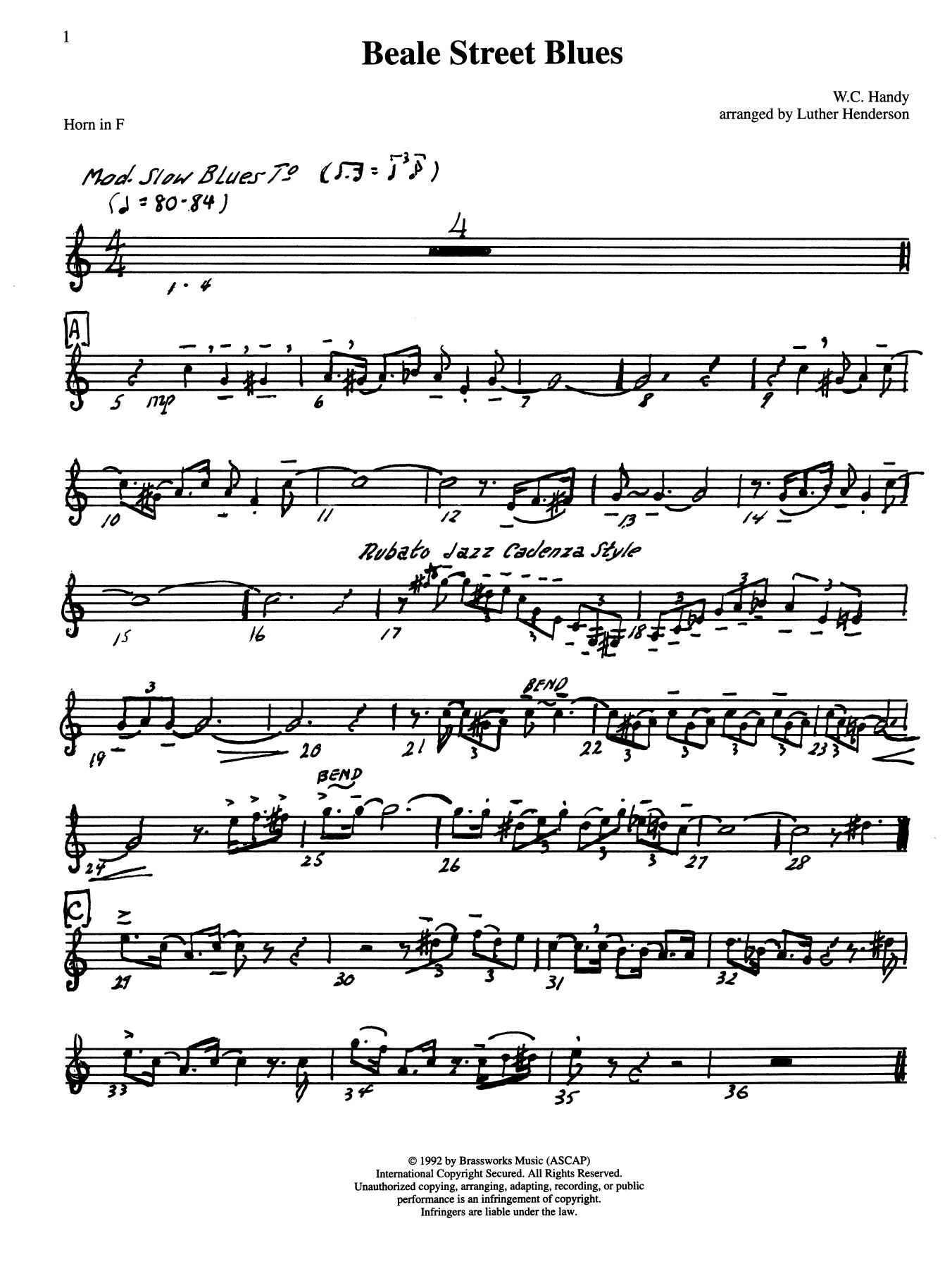 Beale Street Blues - Horn in F Sheet Music