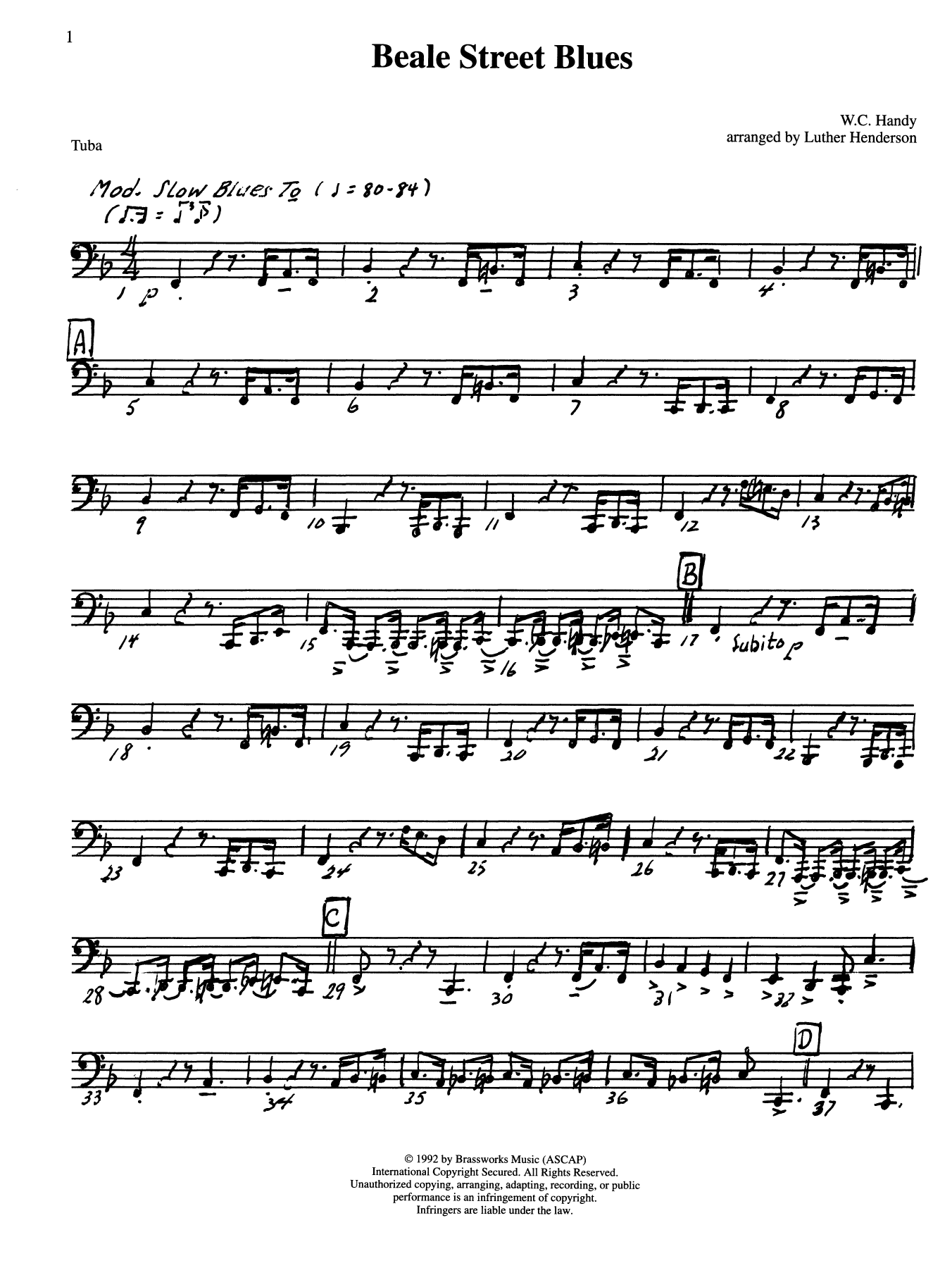 Beale Street Blues - Tuba Sheet Music
