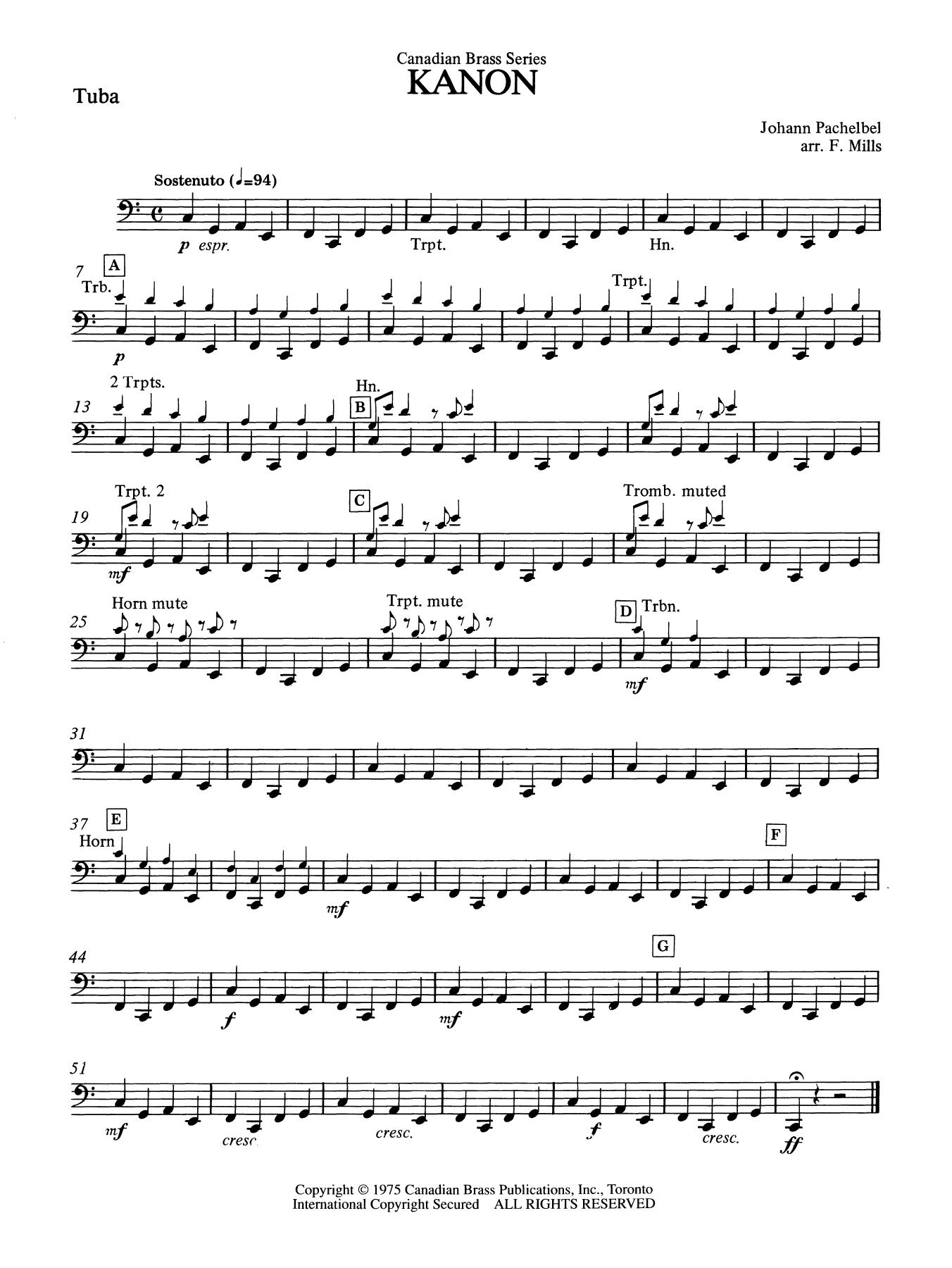 Kanon - Tuba Partition Digitale
