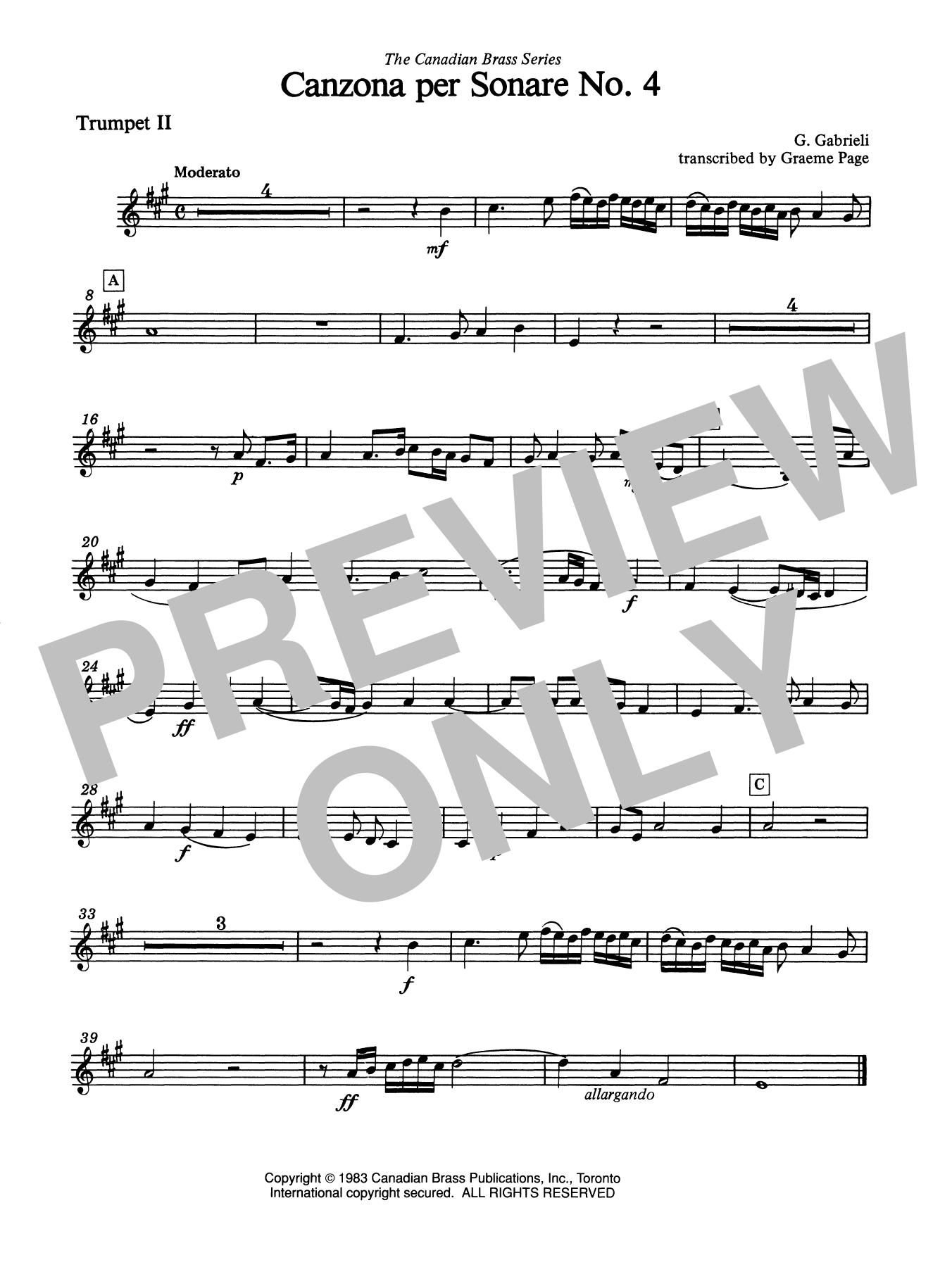 Canzona Per Sonare No. 4 - Bb Trumpet 2 (Brass Quintet) Sheet Music