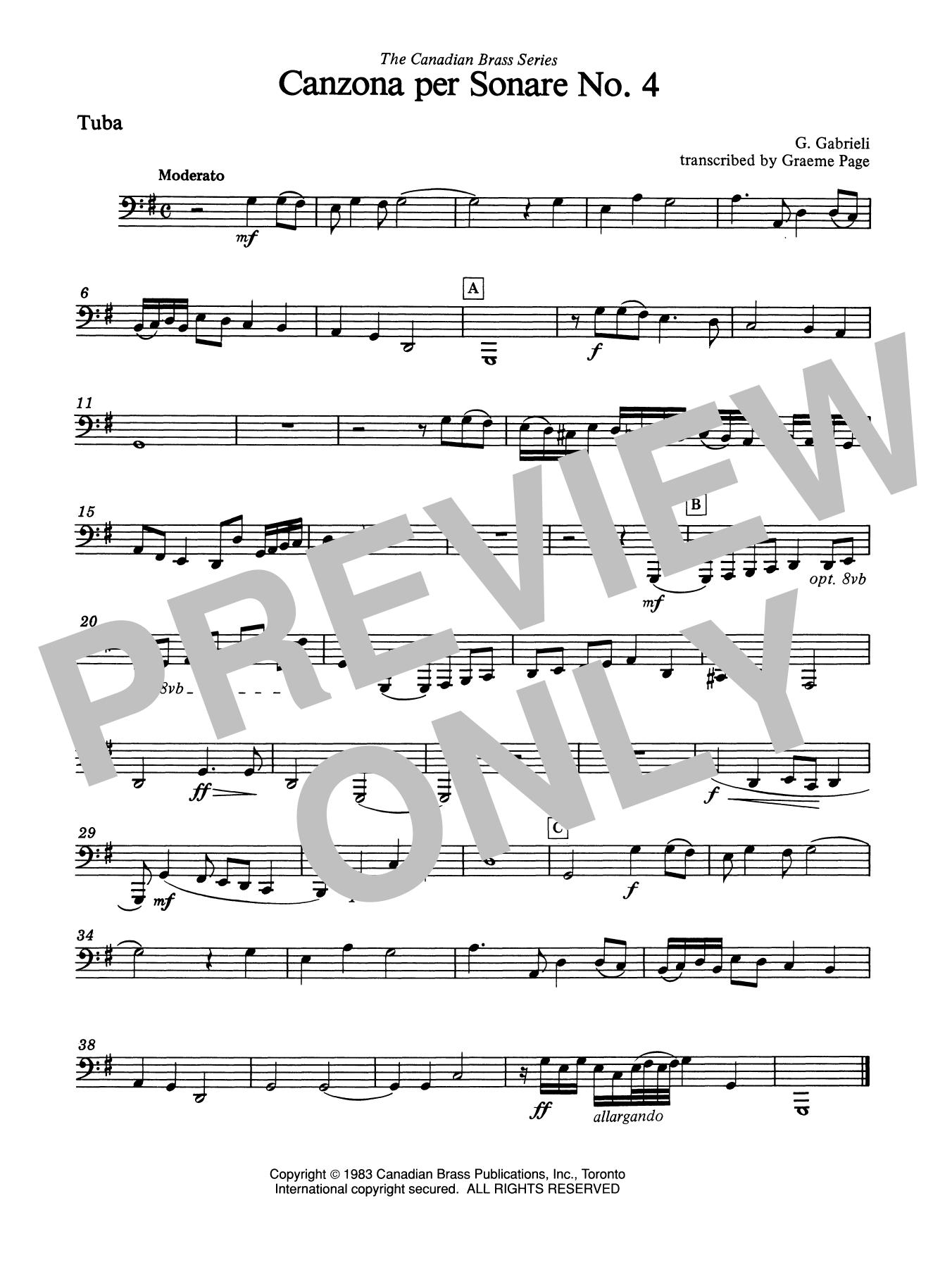 Canzona Per Sonare No. 4 - Tuba Sheet Music