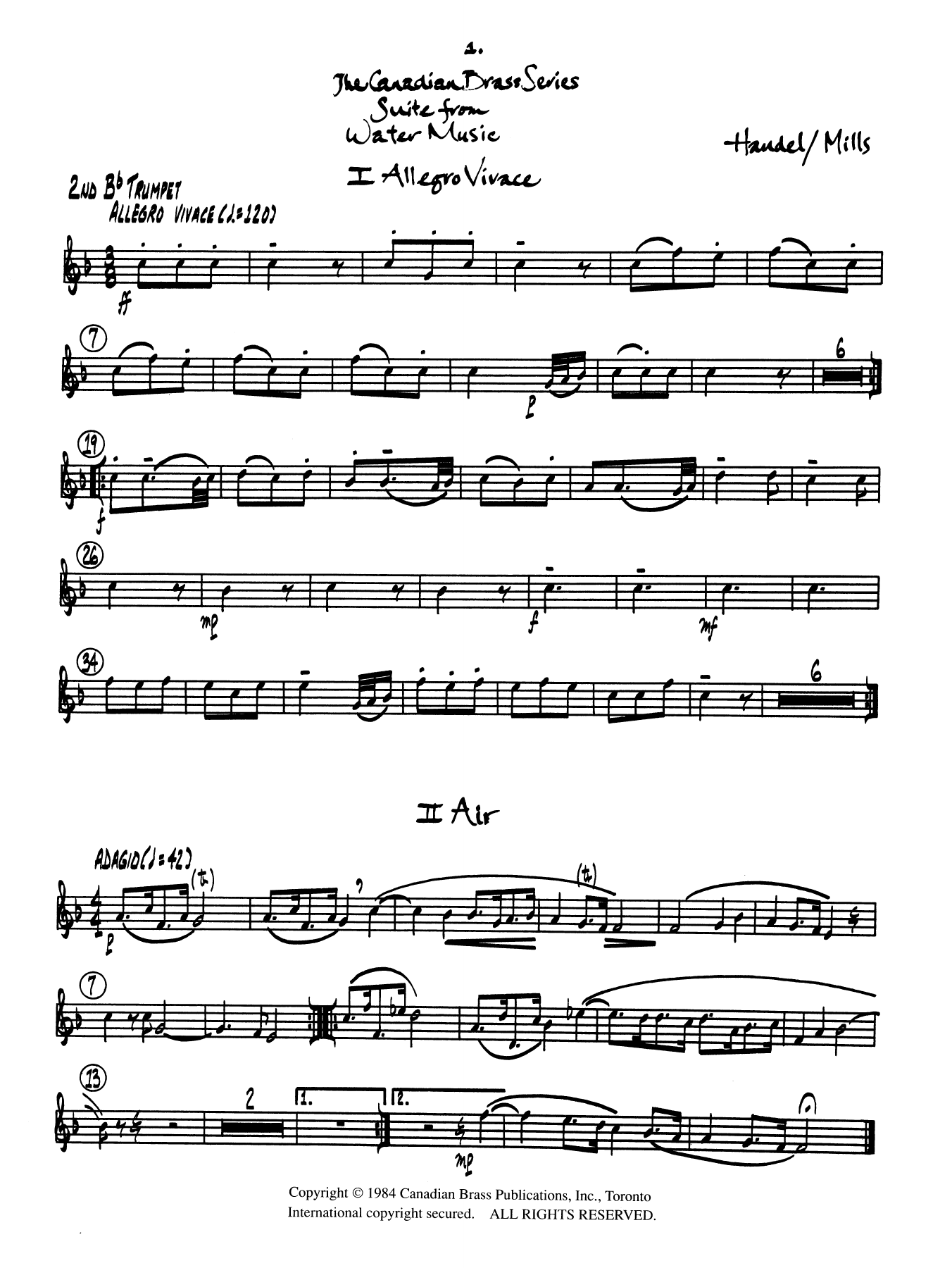 Suite from Water Music - Bb Trumpet 2 (Brass Quintet) Sheet Music