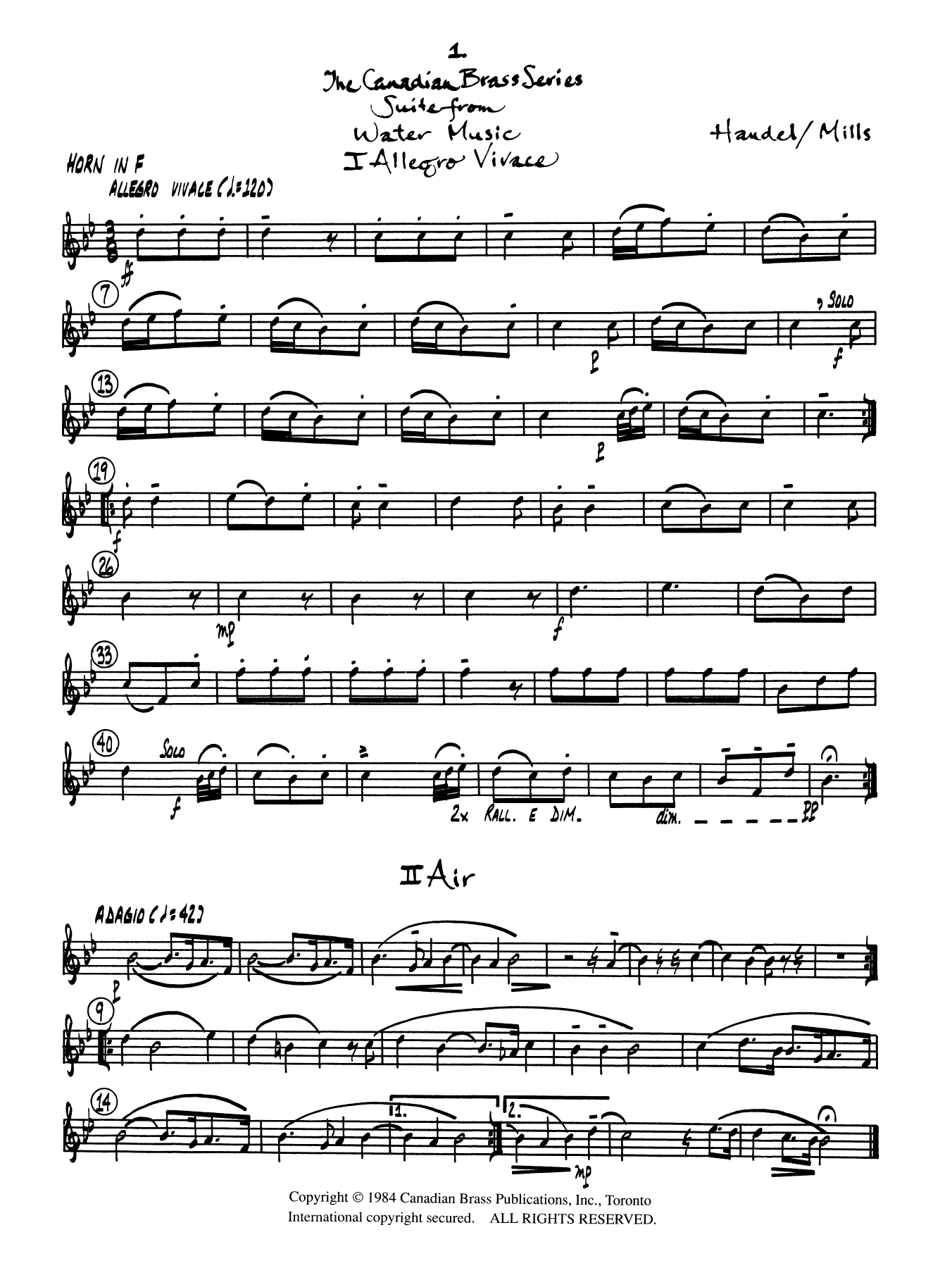 Suite from Water Music - Horn in F Partition Digitale