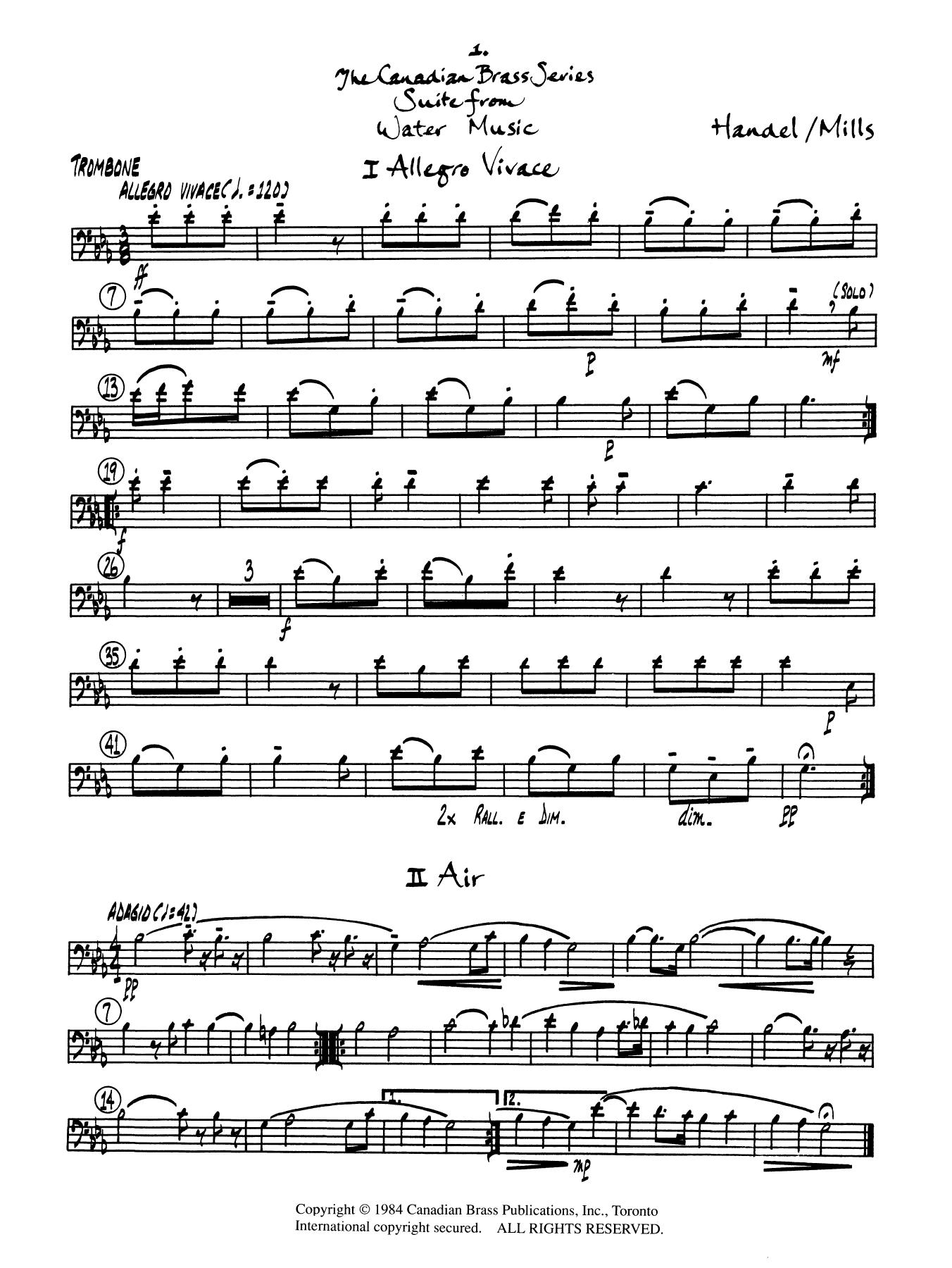 Suite from Water Music - Trombone (B.C.) Sheet Music