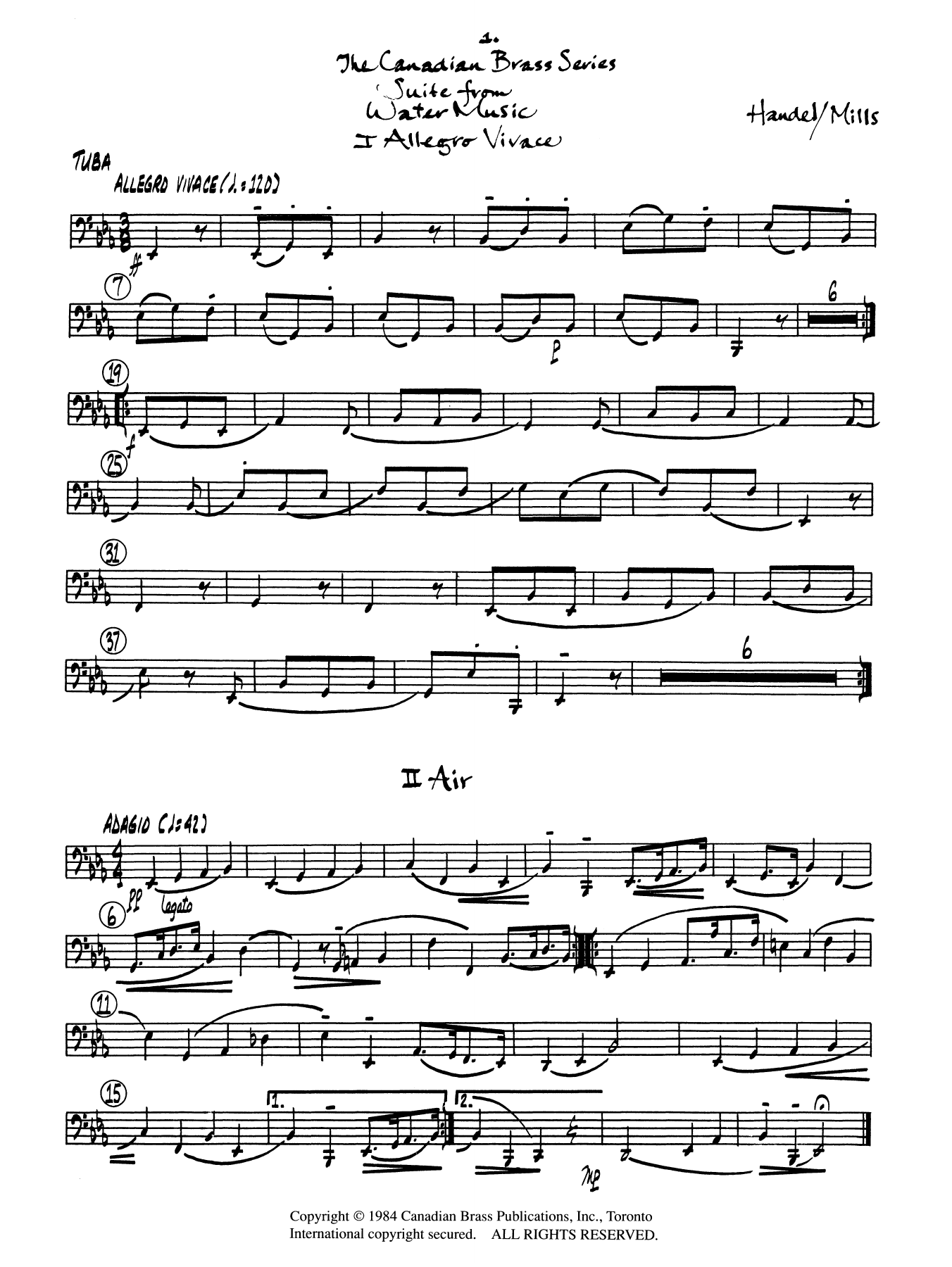 Suite from Water Music - Tuba Sheet Music