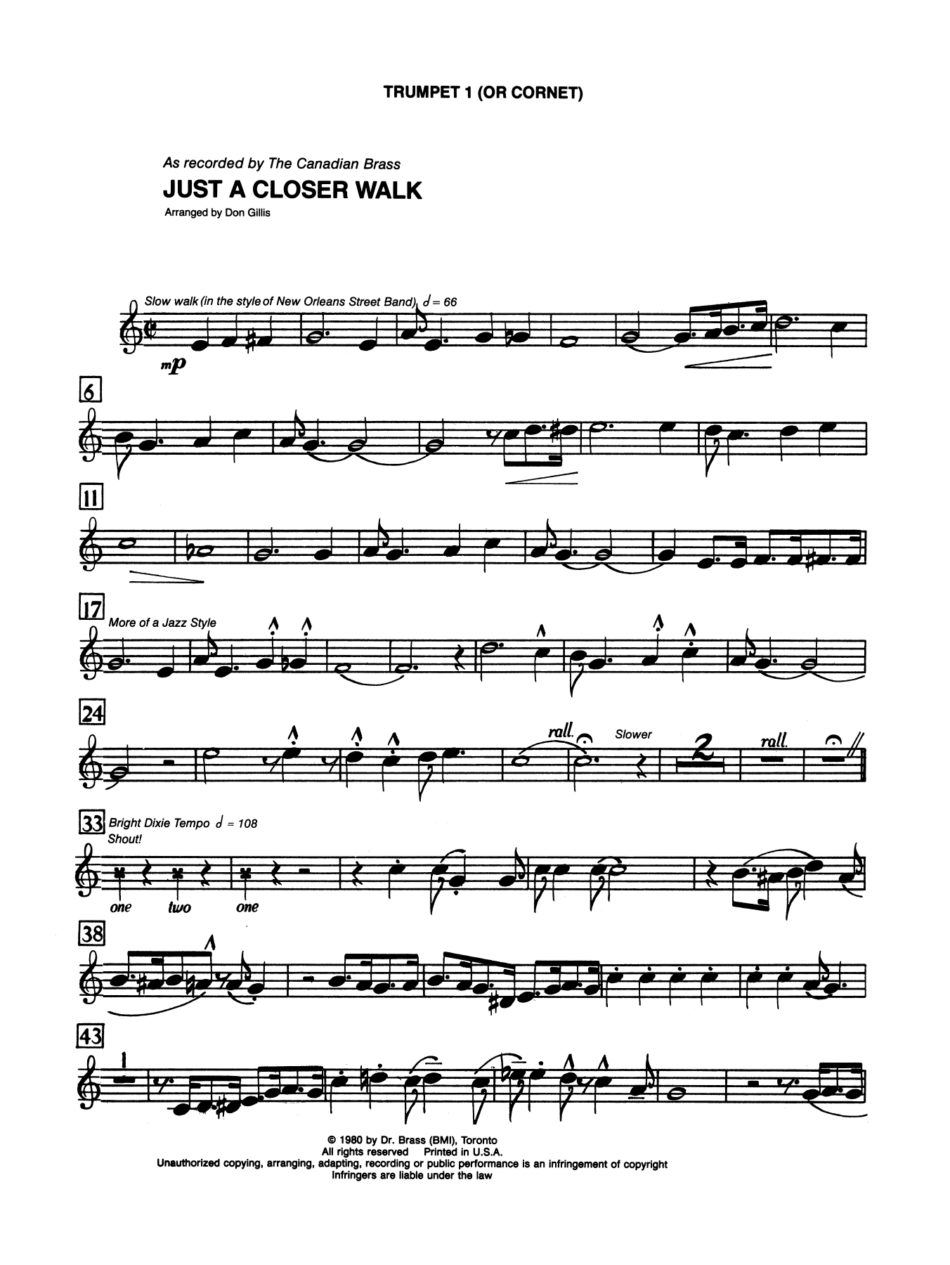 Just A Closer Walk With Thee - Bb Trumpet 1 (Brass Quintet) Sheet Music